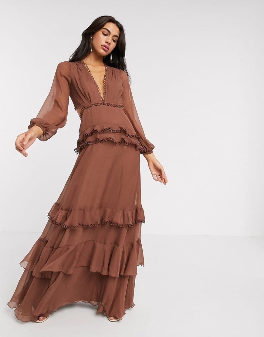 ASOS DESIGN Long Sleeve And Circle Trim Maxi Dress