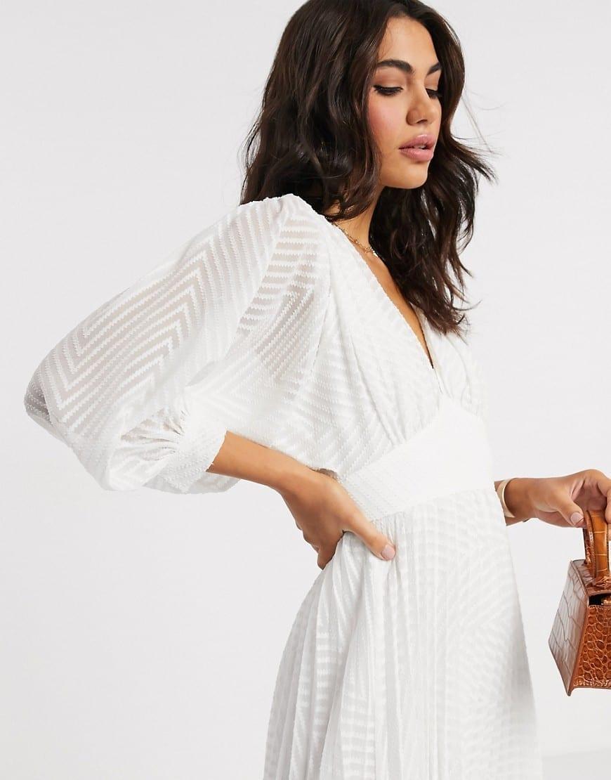 ASOS DESIGN Pleated Batwing Midi Dress