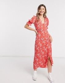 ASOS DESIGN Shirred Waist Button Through Maxi Tea Dress