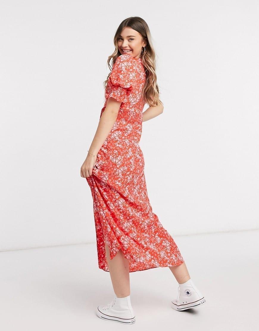 ASOS DESIGN Shirred Waist Button Through Maxi Tea Dress