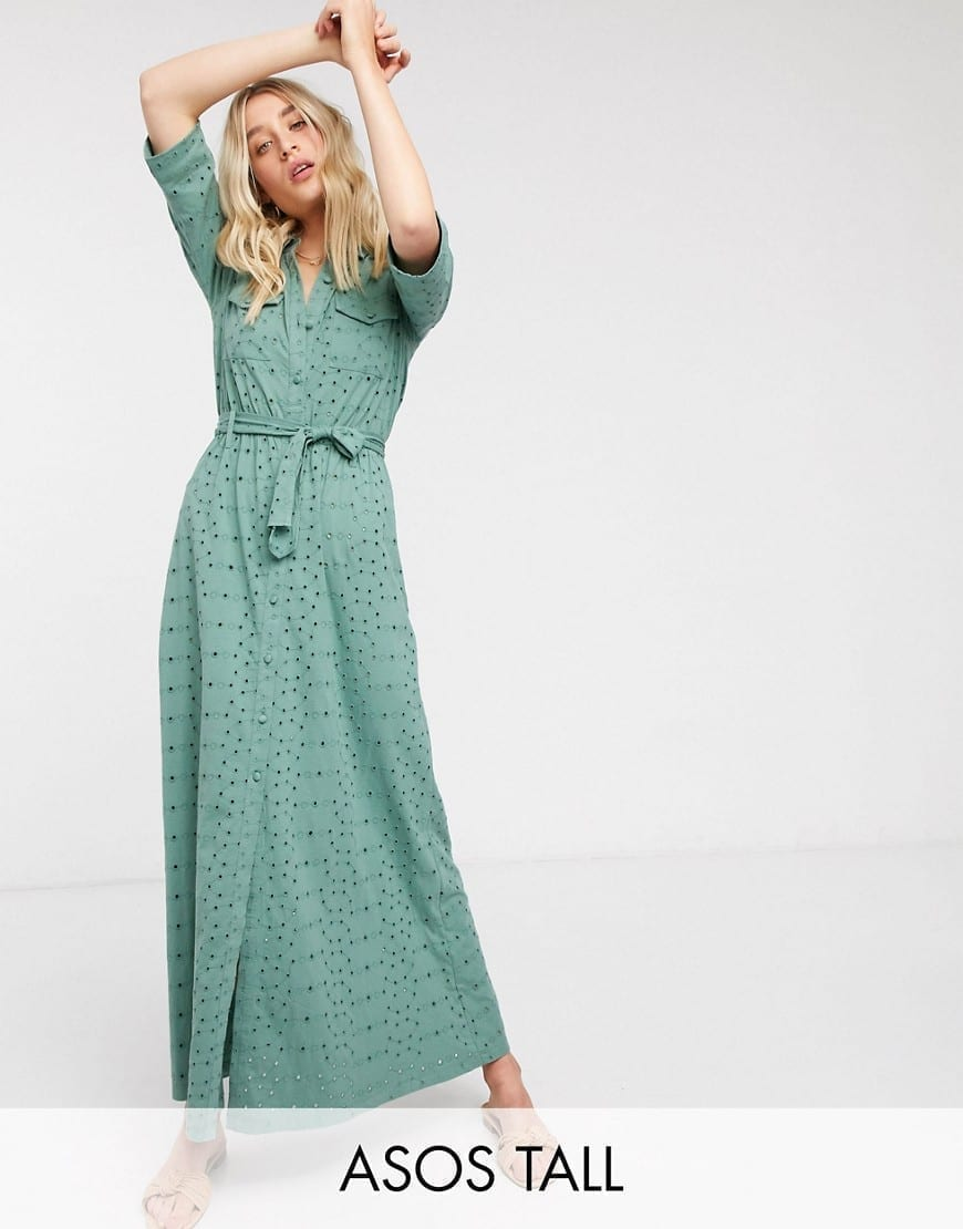 ASOS DESIGN Tall Broderie Shirt Maxi Dress