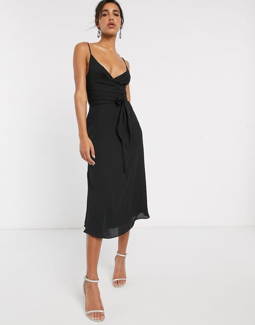 ASOS DESIGN Tie Waist Cami Wrap Midi Dress
