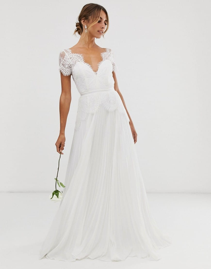 ASOS EDITION Sophia Plunge Lace Wedding Pleated Skirt Dress