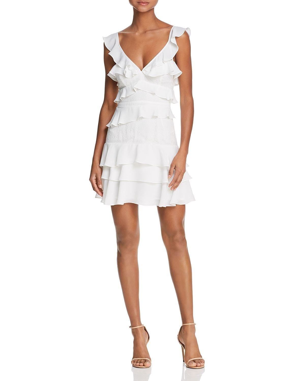 BARDOT Lace-Inset Ruffled Dress