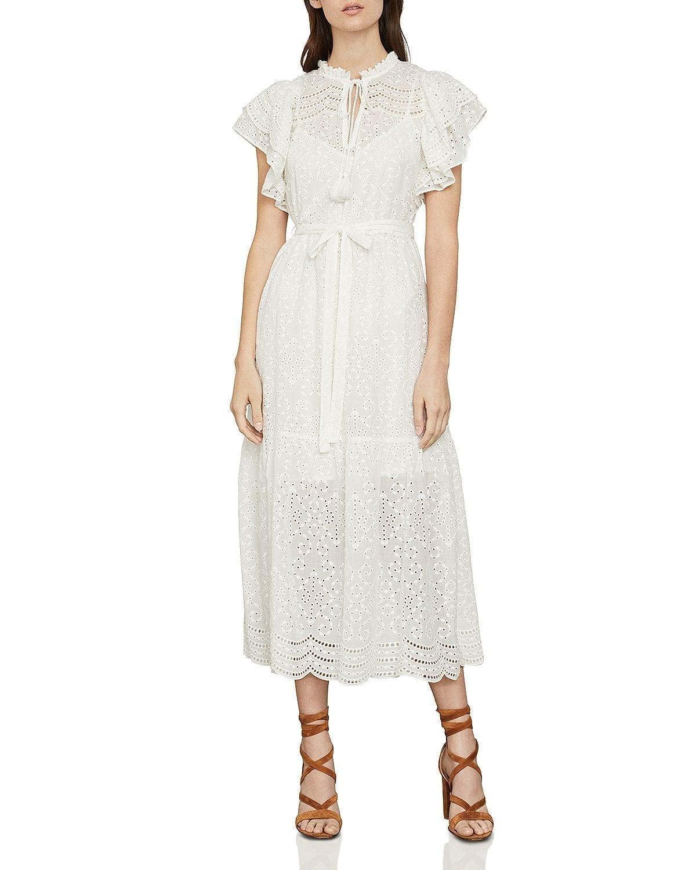 BCBGMAXAZRIA Eyelet Ruffled Cotton Midi Dress