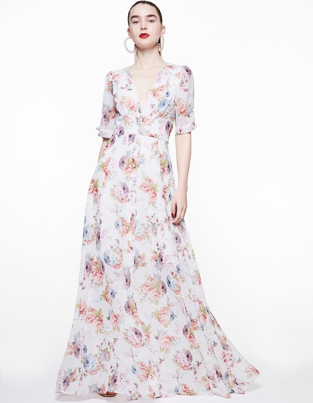 BETSEY JOHNSON Tie Sleeve Blooms Maxi Dress