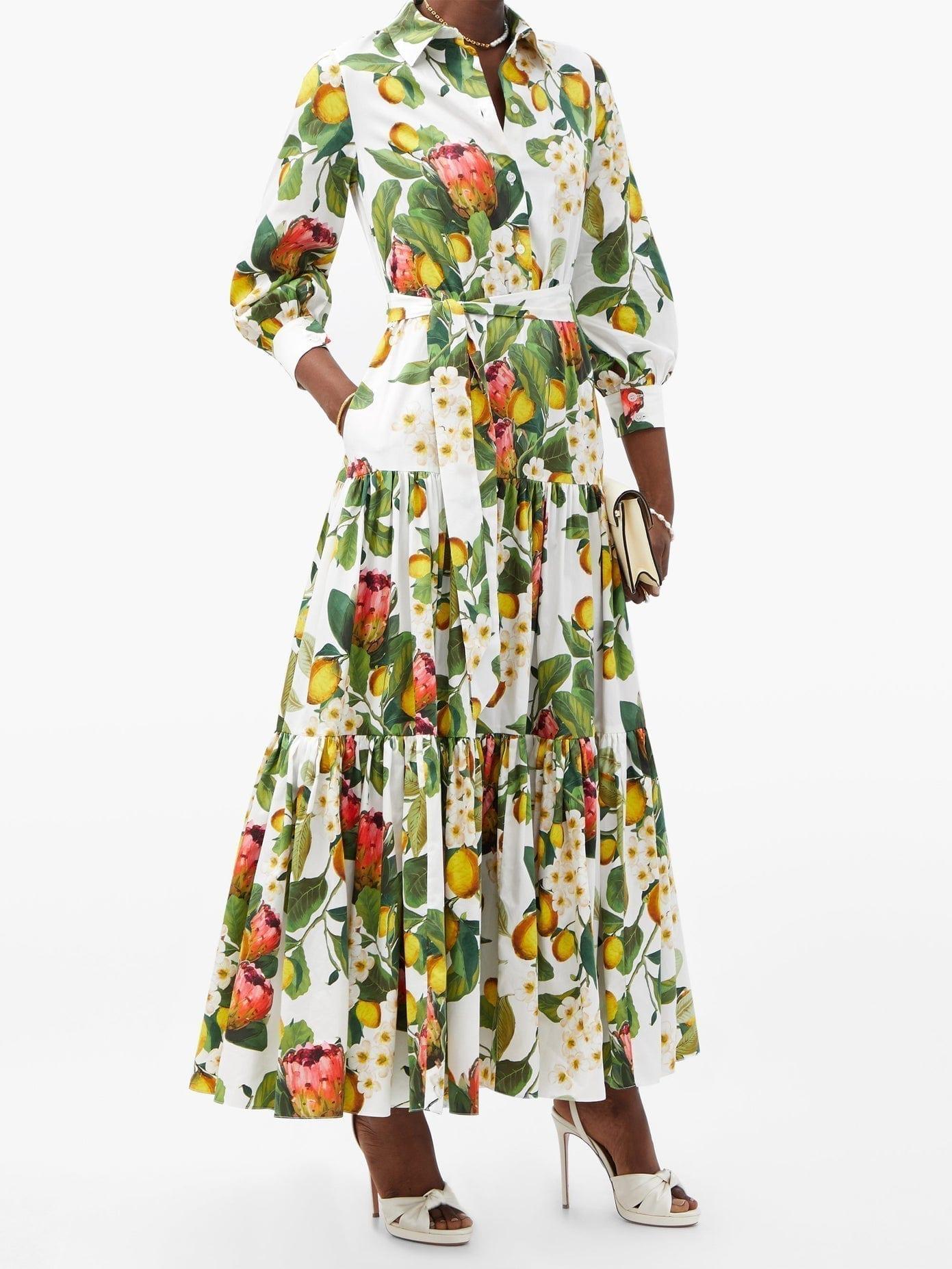 BORGO DE NOR Clarissa Botanical-print Cotton Shirt Dress