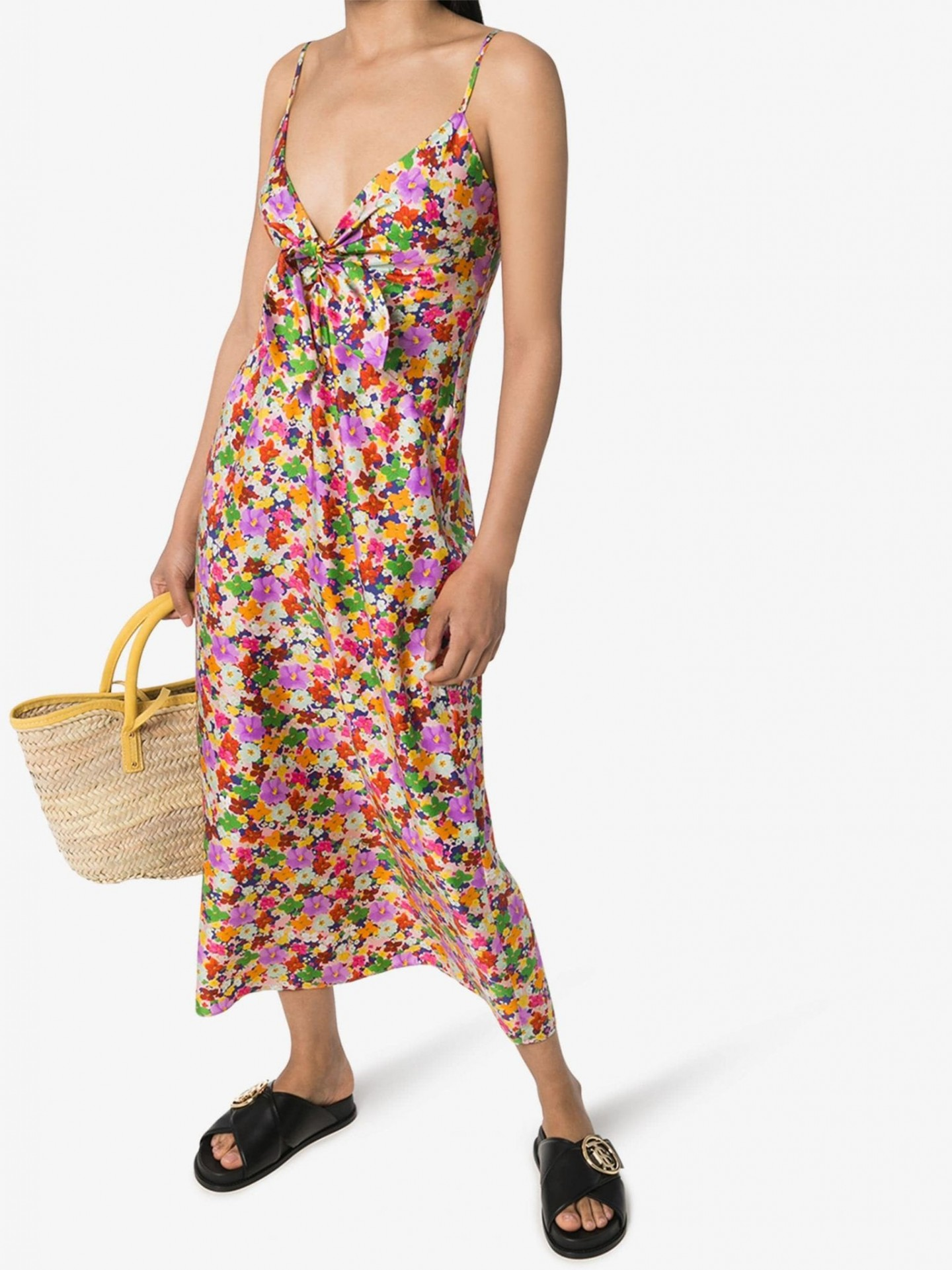 BORGO DE NOR Floral Print Silk Slip Dress