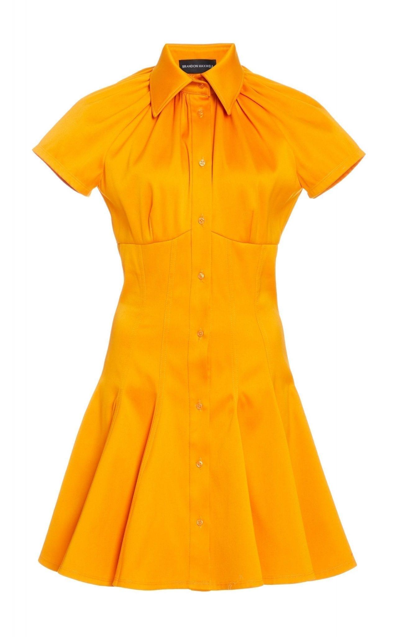 BRANDON MAXWELL Exclusive Shirred Collar Cotton Mini Shirt Dress
