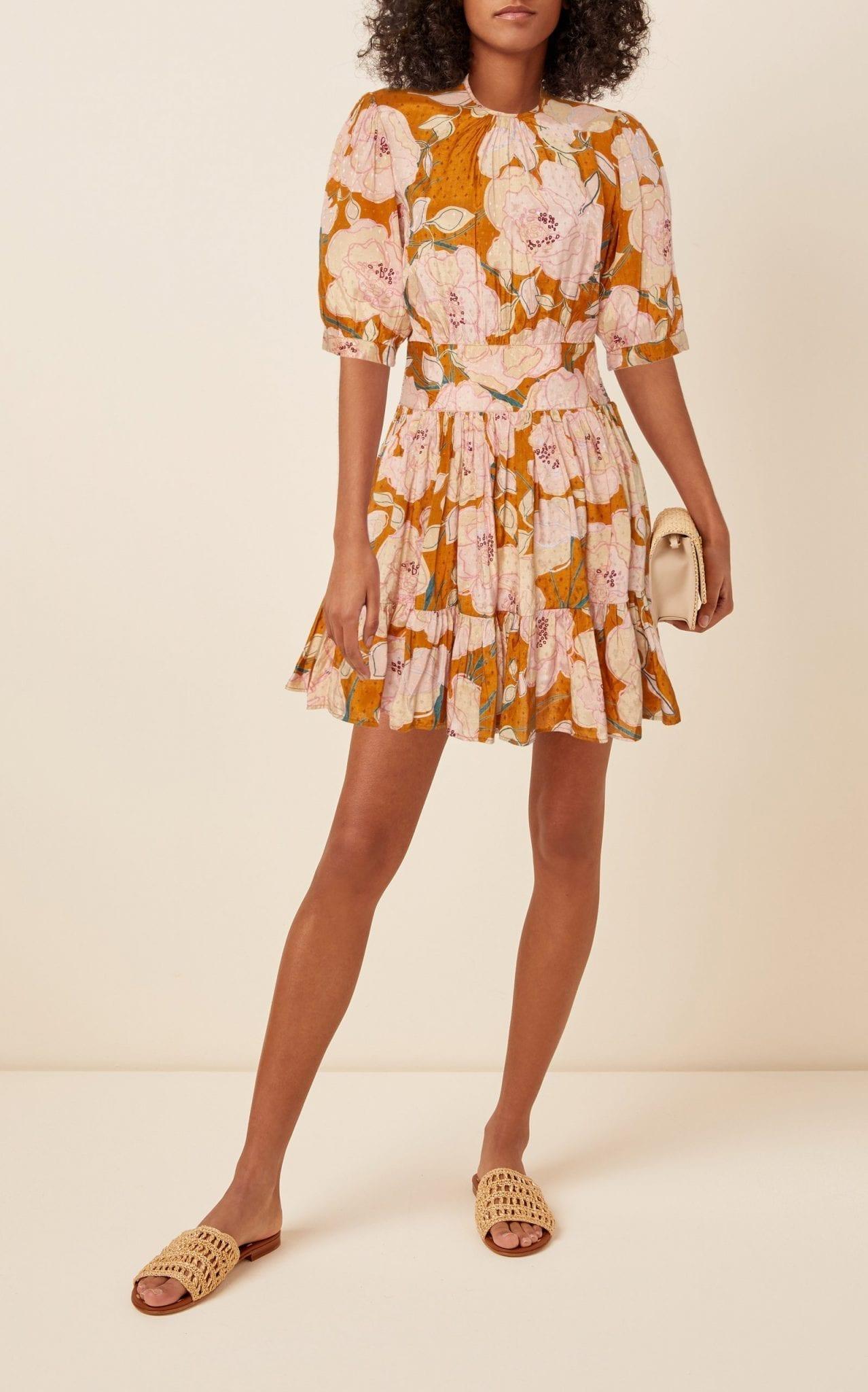 BYTIMO Delicate Floral-Print Crepe Mini Dress