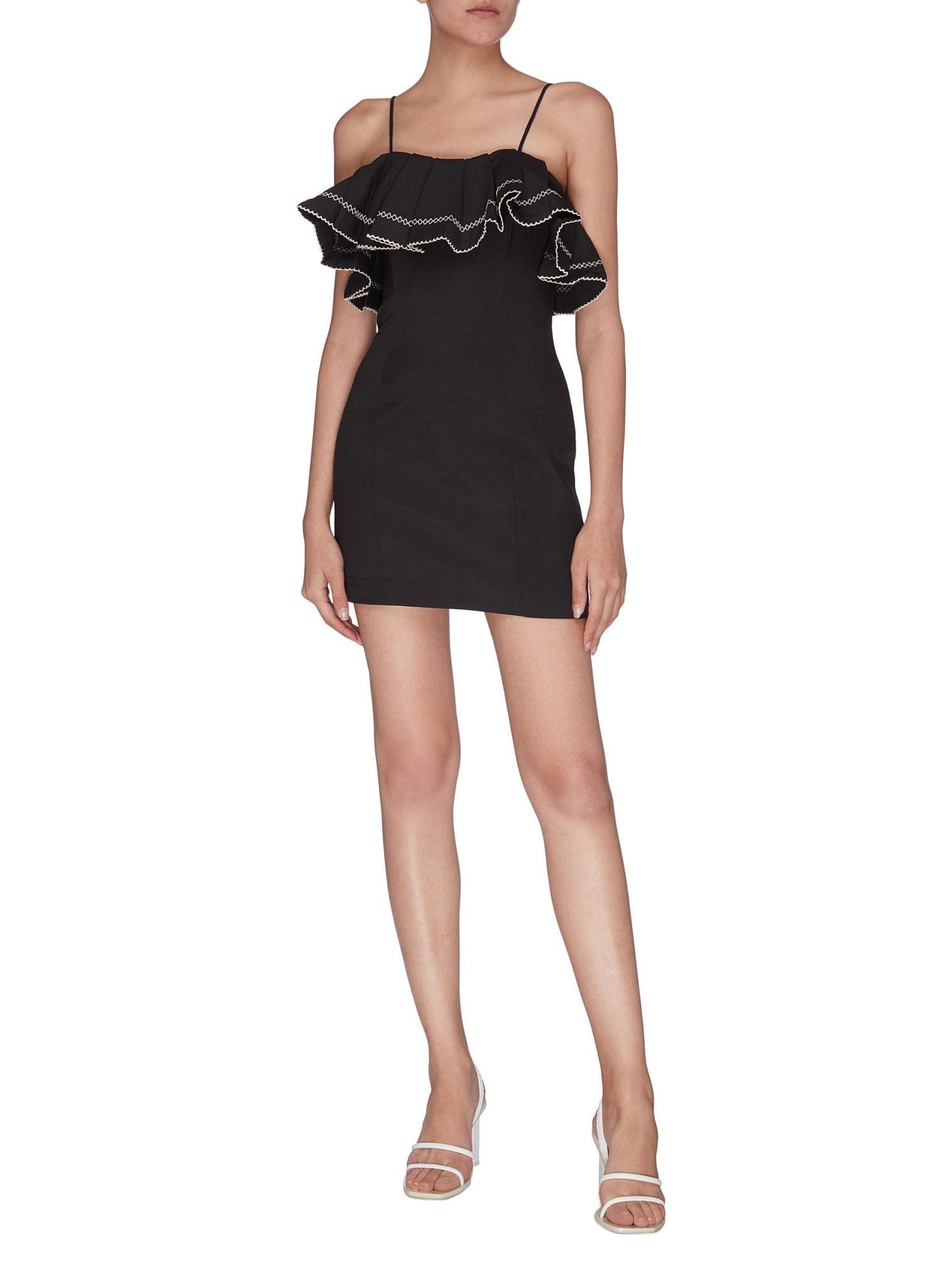 "C/MEO COLLECTIVE ""Affinity' Ruffle Contrast Topstitch Mini Dress"