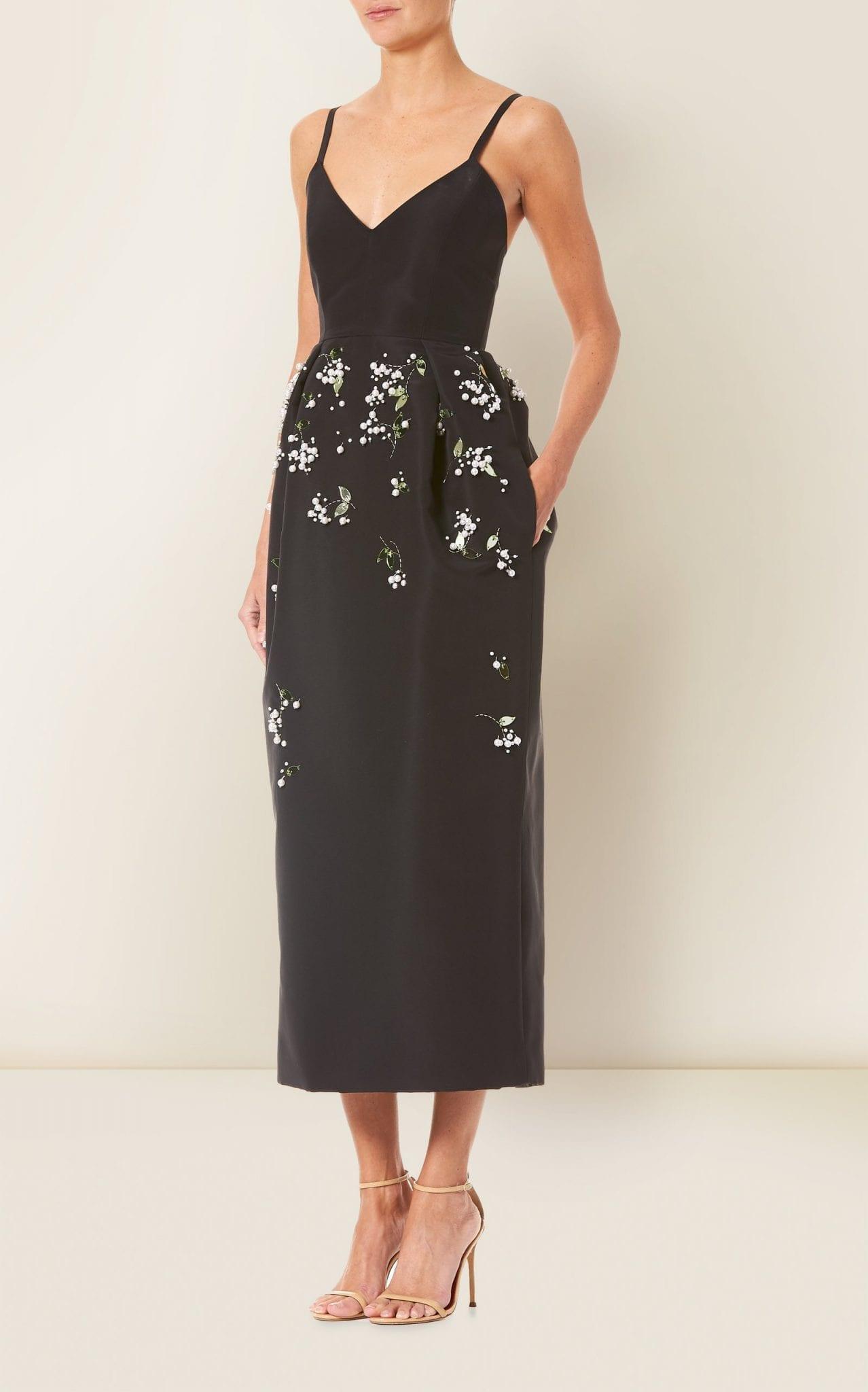 CAROLINA HERRERA Floral-Embroidered Silk-Faille Dress