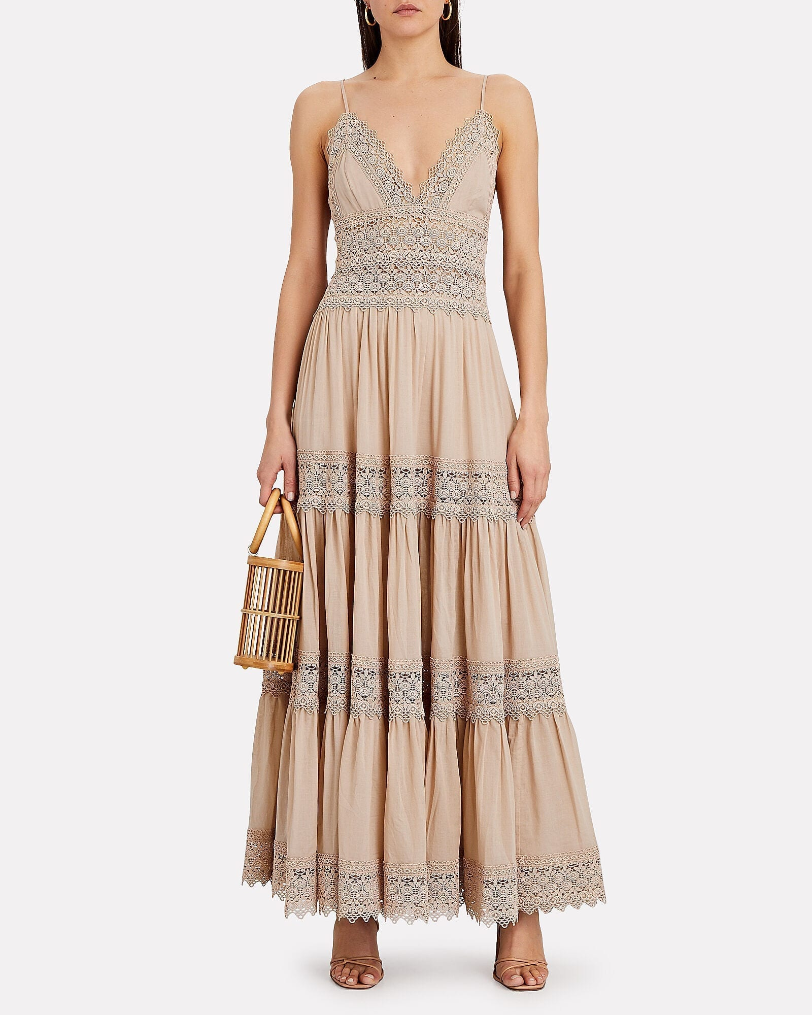 CHARO RUIZ Cindy Lace-Trimmed Tiered Dress