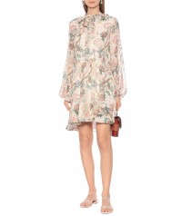 CHLOÉ Embroidered Printed Silk Dress