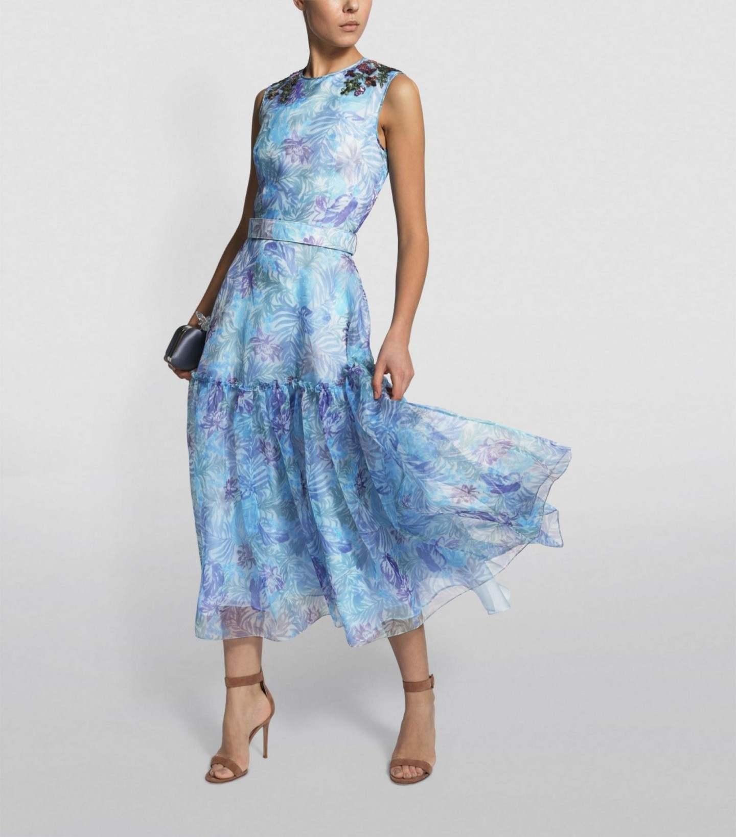 COSTARELLOS Floral Sequin-Embellished Organza Dress