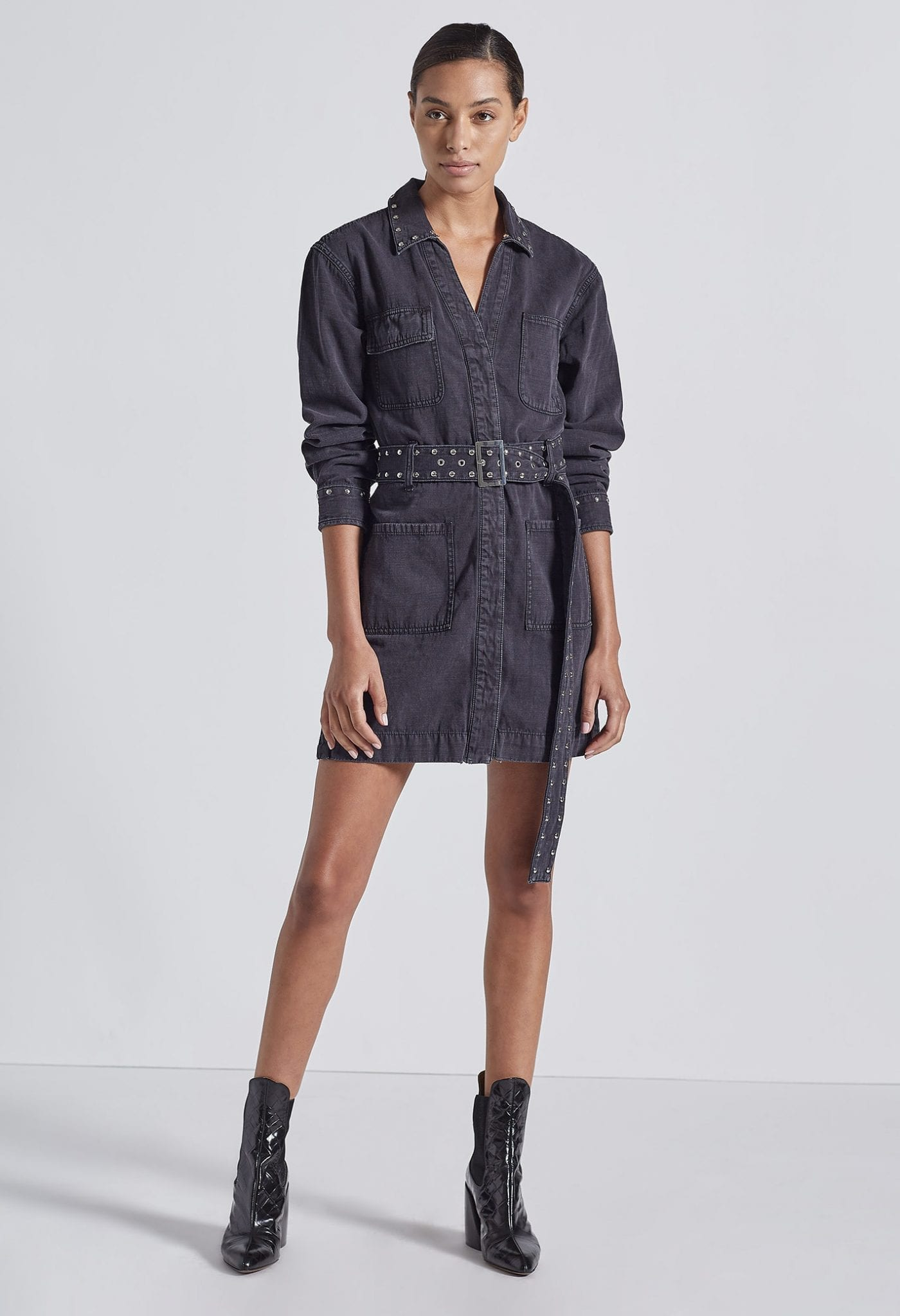 CURRENT ELLIOT The Studded Debbie Shirt Dress