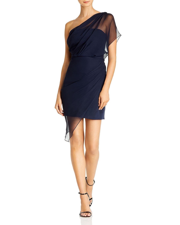 CUSHNIE One-Shoulder Draped Chiffon Silk Mini Dress