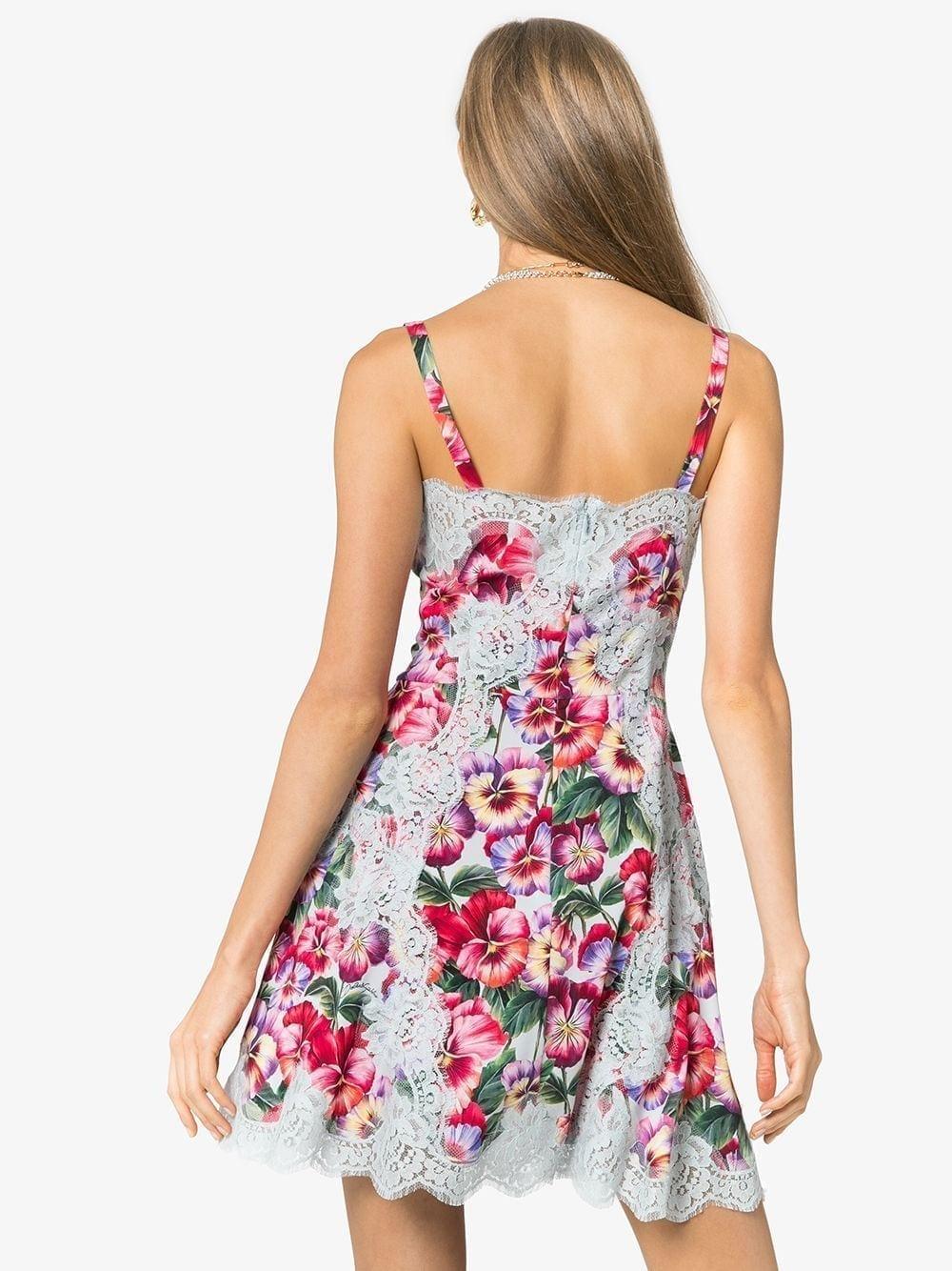 DOLCE & GABBANA Lace Trim Floral Dress