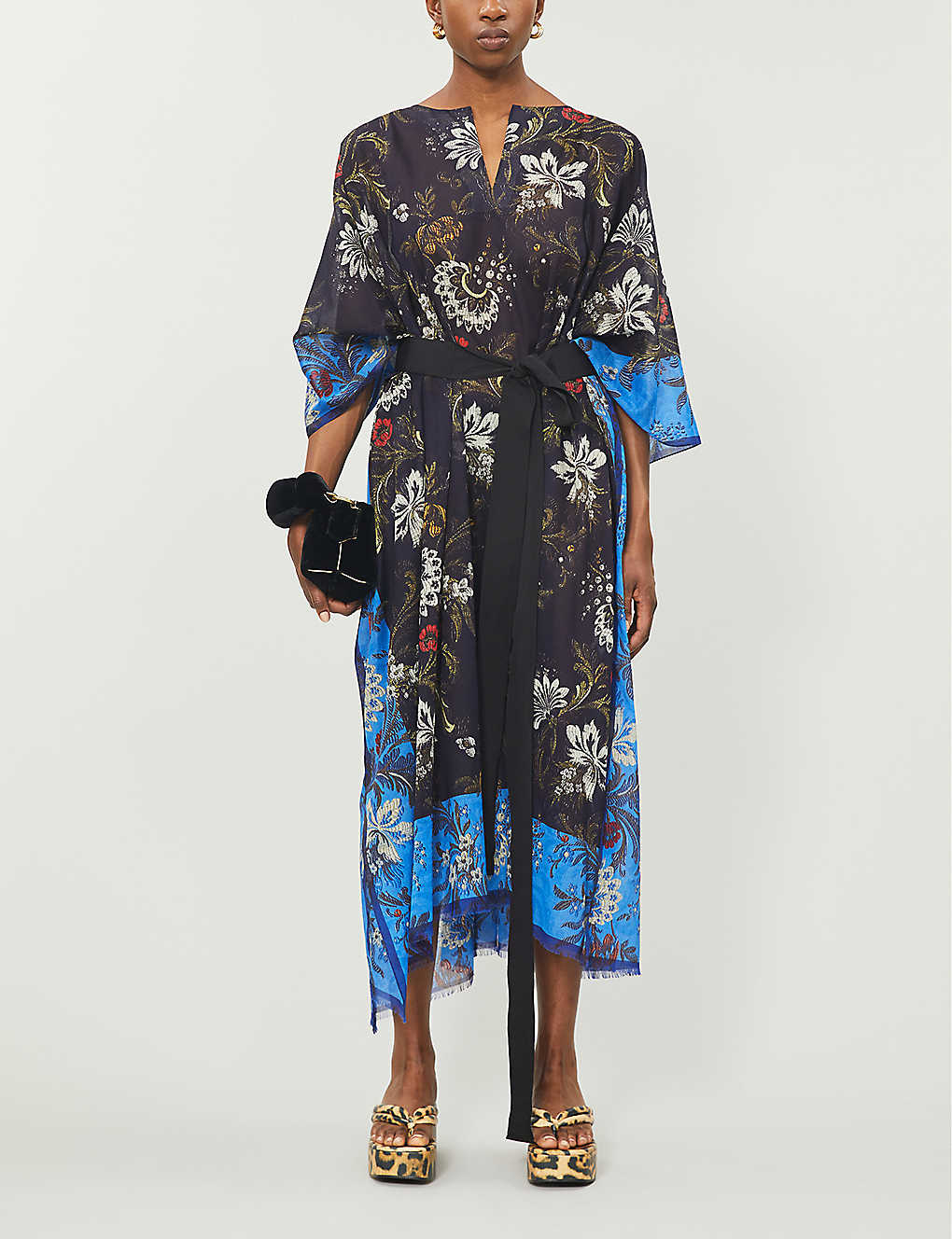DRIES VAN NOTEN Floral-print cotton kaftan Dress