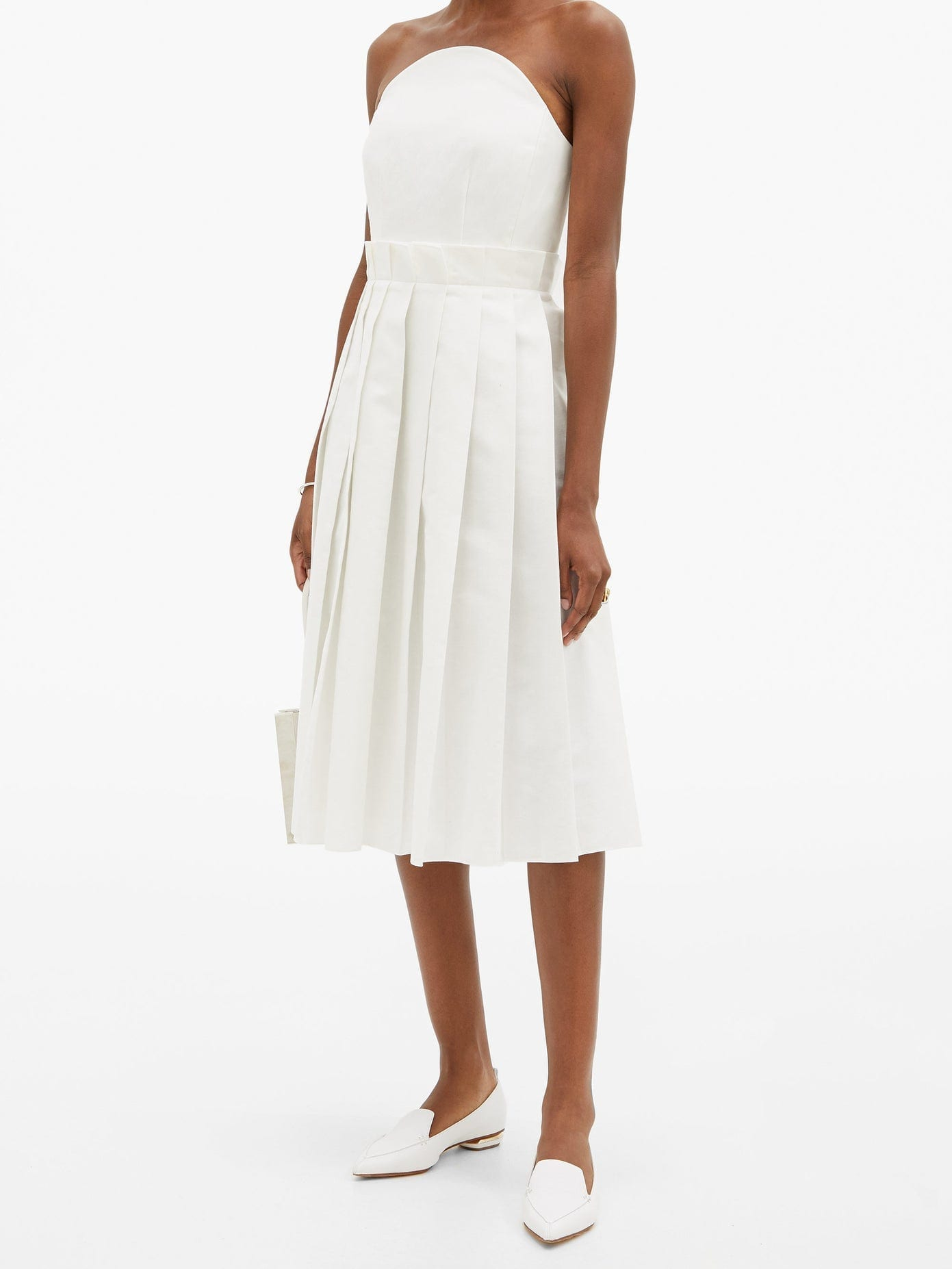 DUNCAN Beatrix Pleated Cotton-Oxford Bustier Dress
