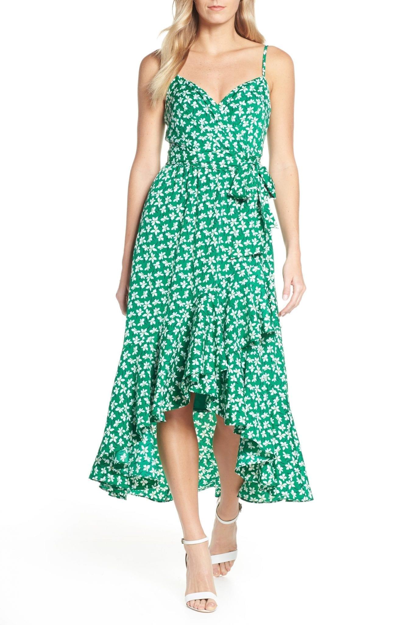 ELIZA J Floral High/Low Faux Wrap Midi Dress