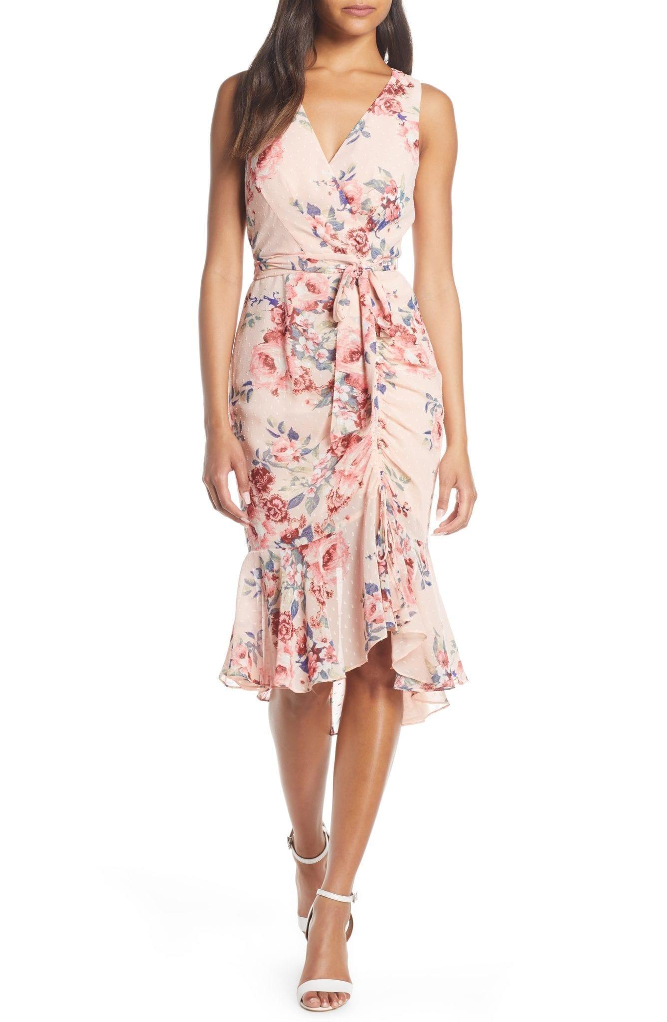 ELIZA J Floral Ruched Chiffon Faux Wrap Dress