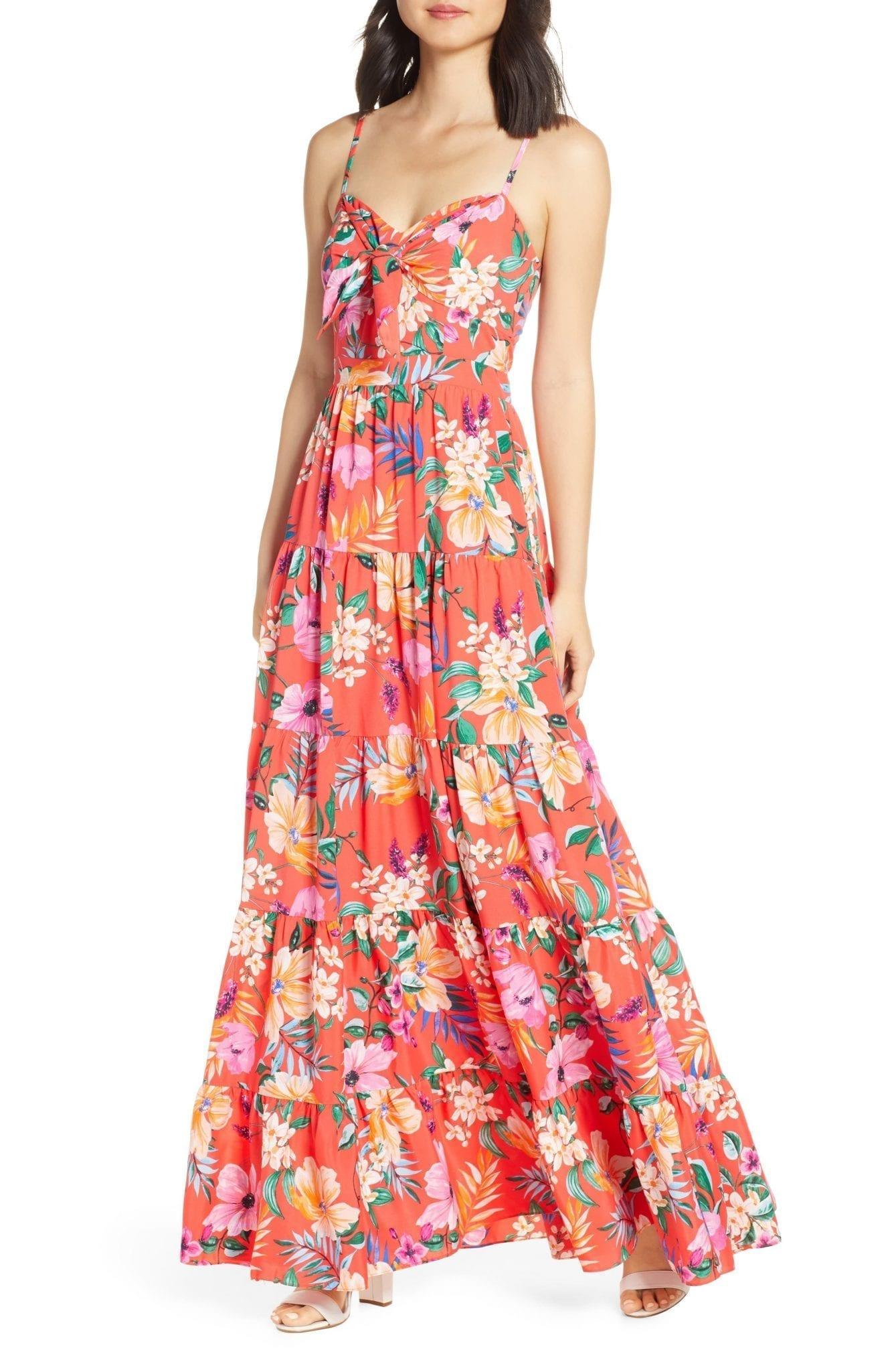 ELIZA J Floral Tie Front Tiered Maxi Sun Dress
