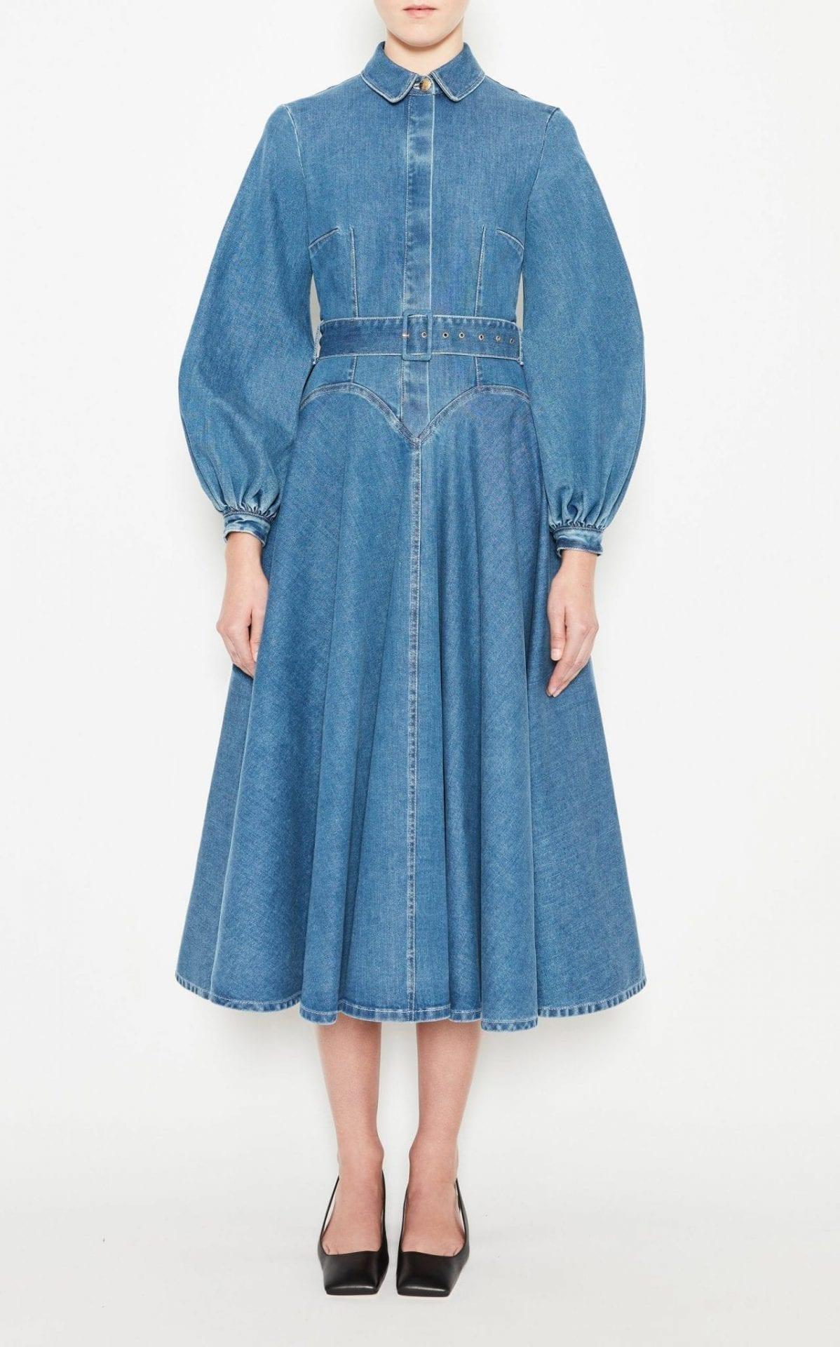 EMILIA WICKSTEAD Jewel Puffed Sleeve Denim Dress