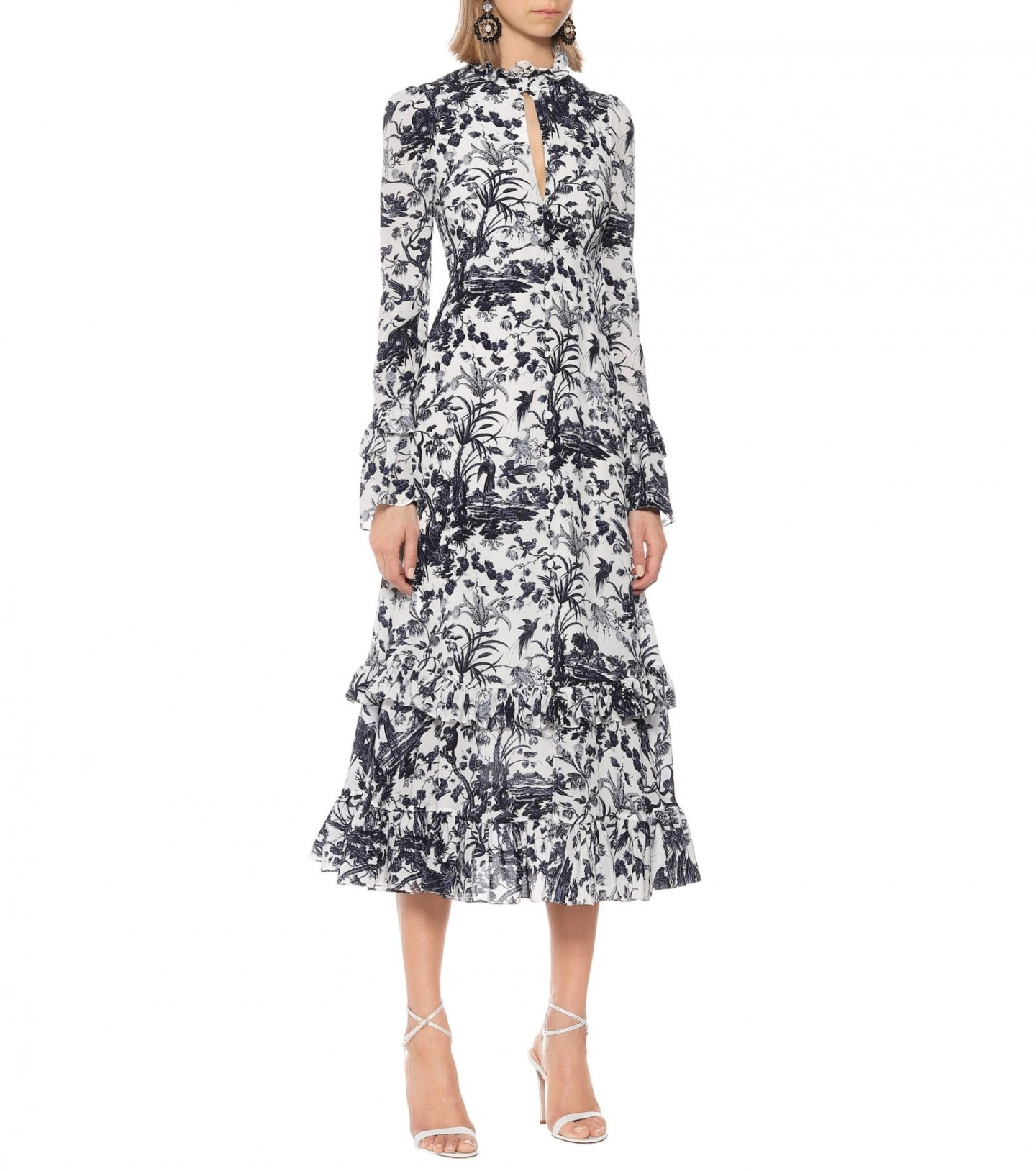 ERDEM Miguella Floral Silk Dress