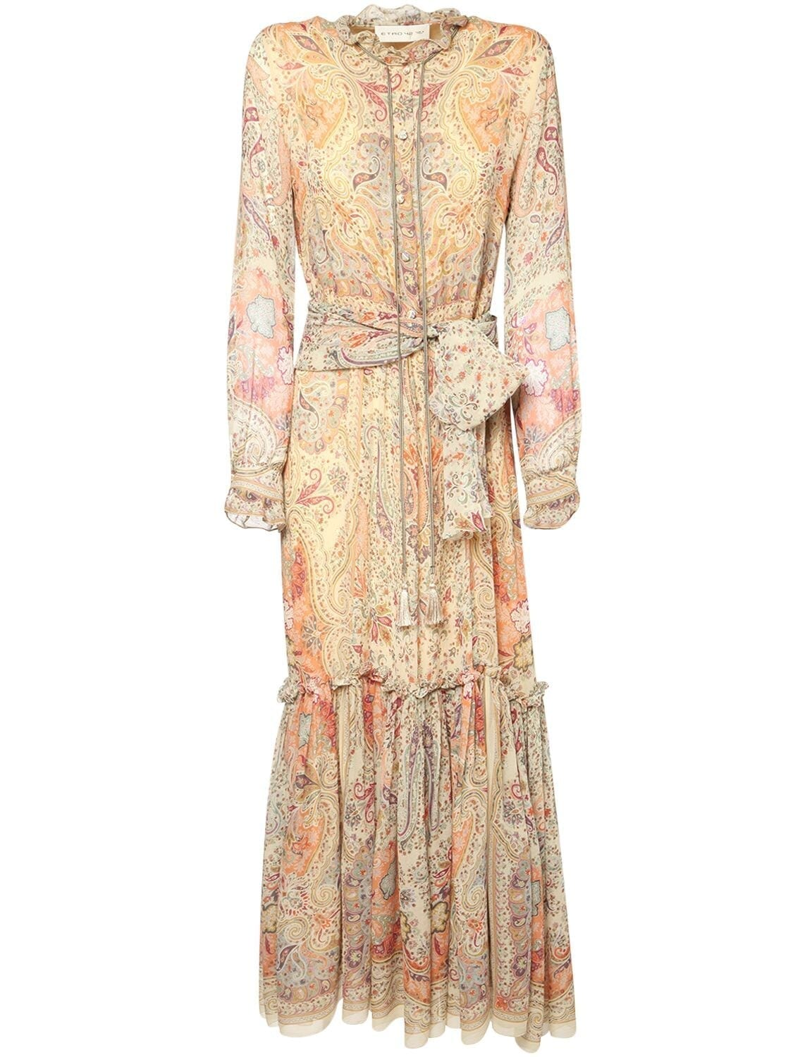 ETRO Printed Silk Georgette Long Dress