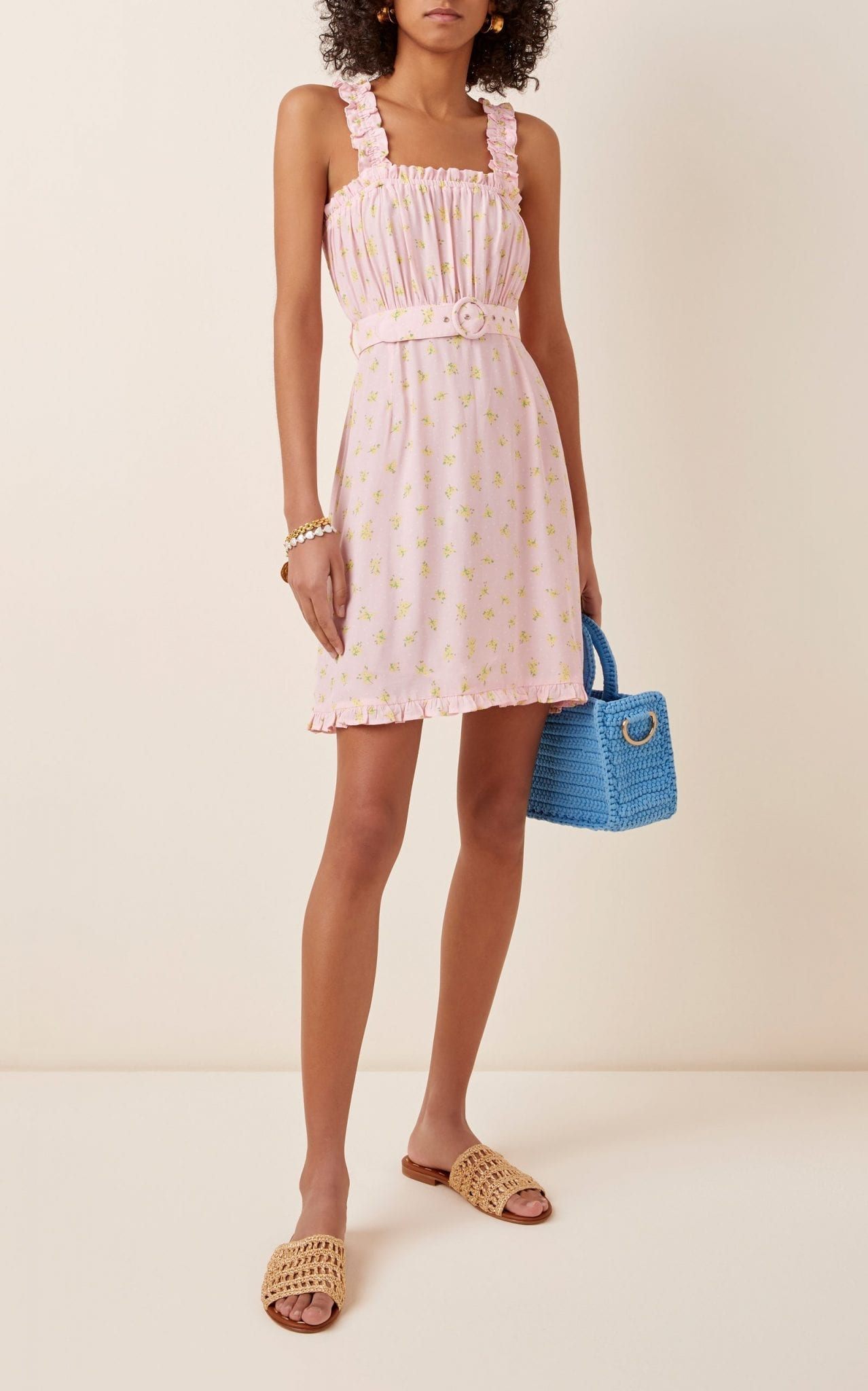 FAITHFULL THE BRAND Belted Ruffled Floral-Print Crepe Mini Dress