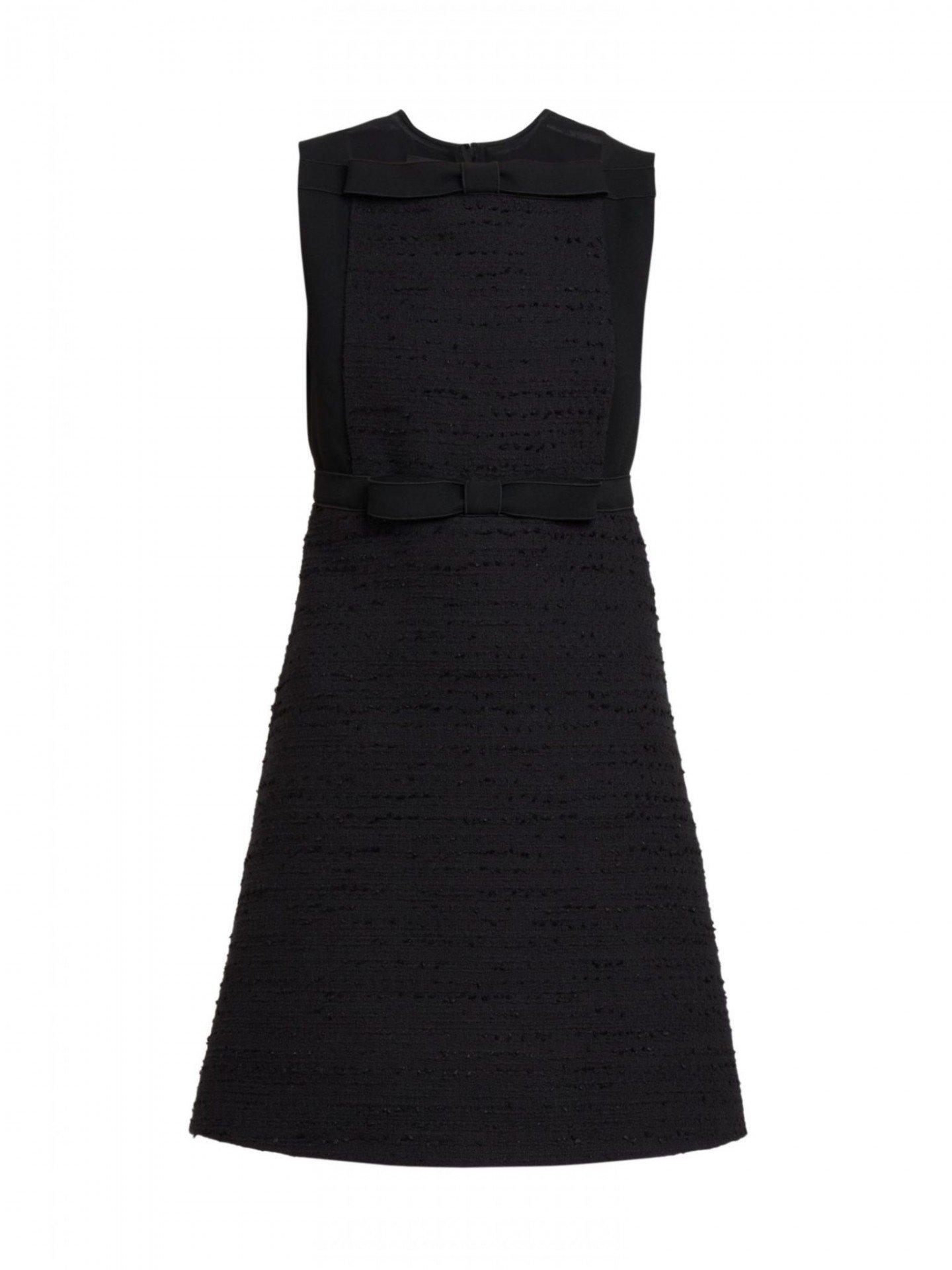 GIAMBATTISTA VALLI Bow Front Sleeveless Tweed Dress