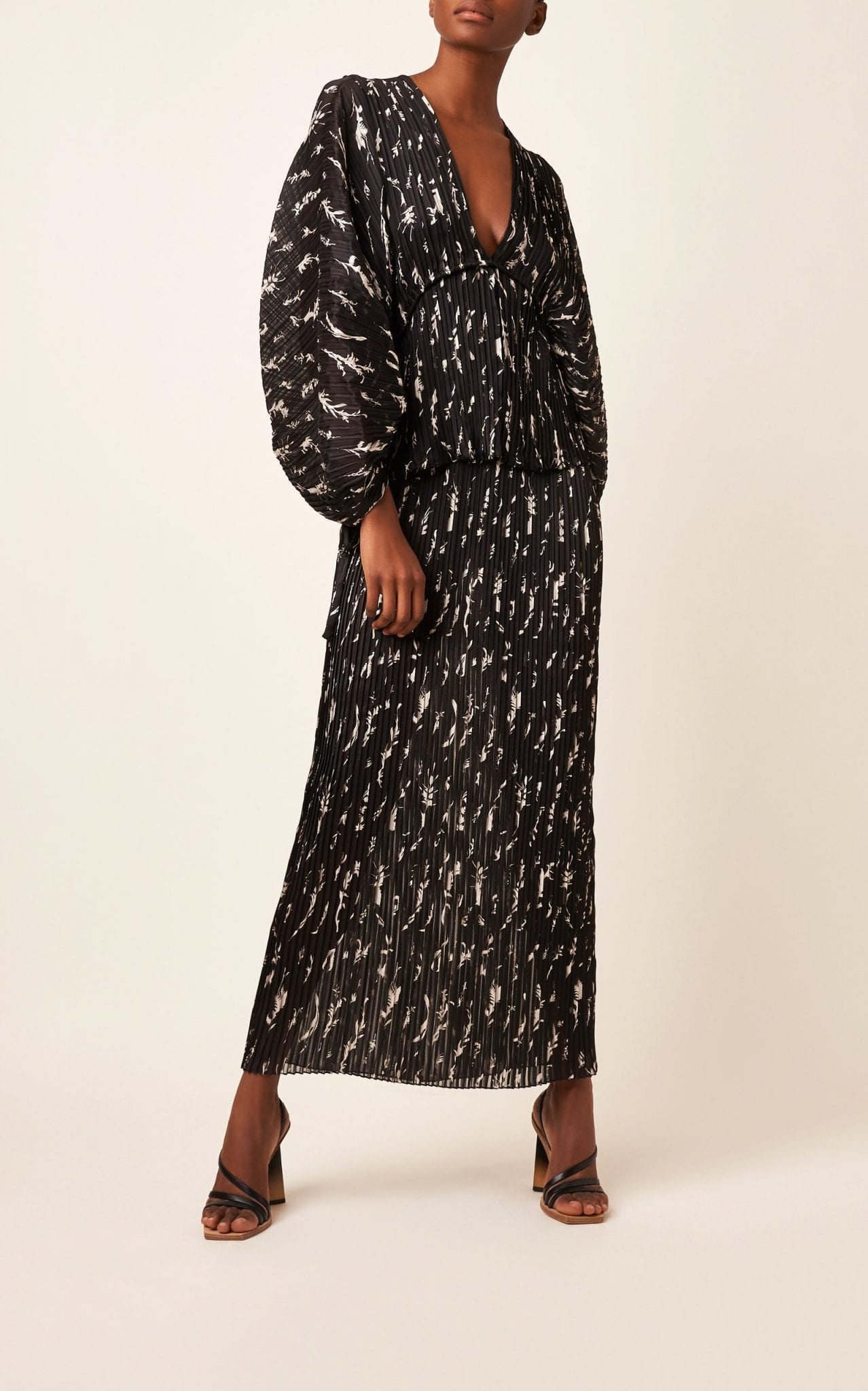 GIVENCHY Printed Plissé Maxi Dress