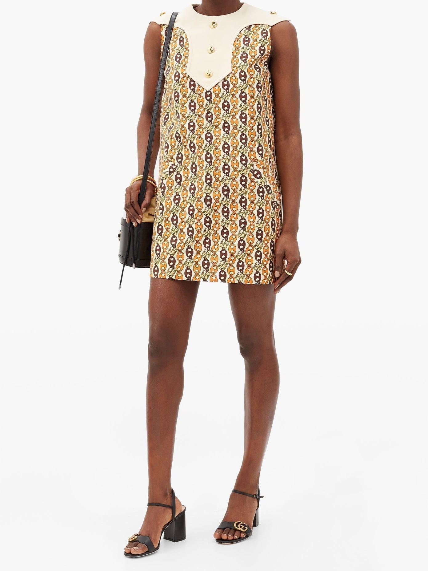 GUCCI GG Chain-print Shift Dress