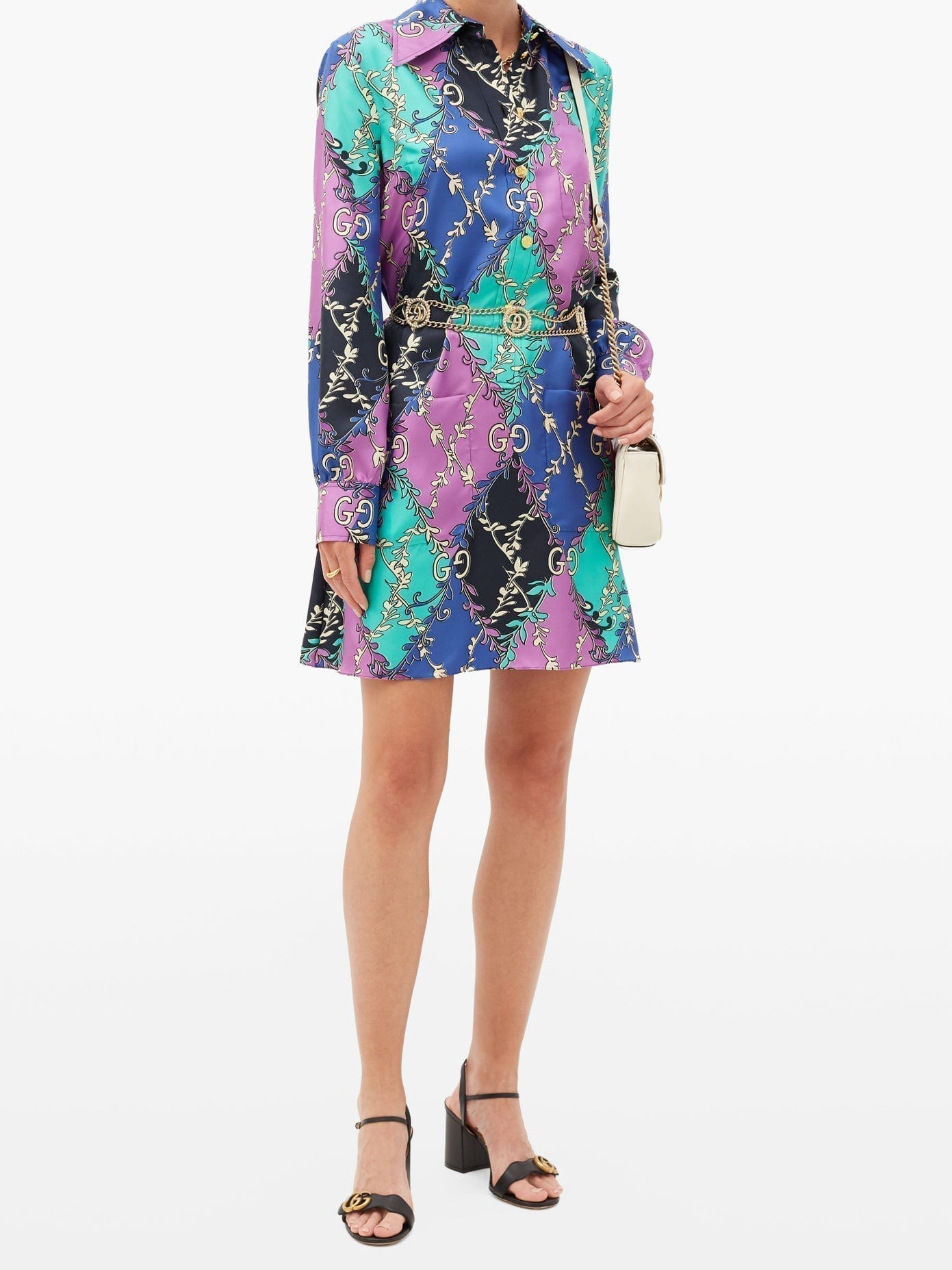 GUCCI GG Diamond-Print Silk-Twill Mini Dress
