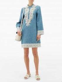GUCCI Lace-trimmed Stonewashed Chambray Dress