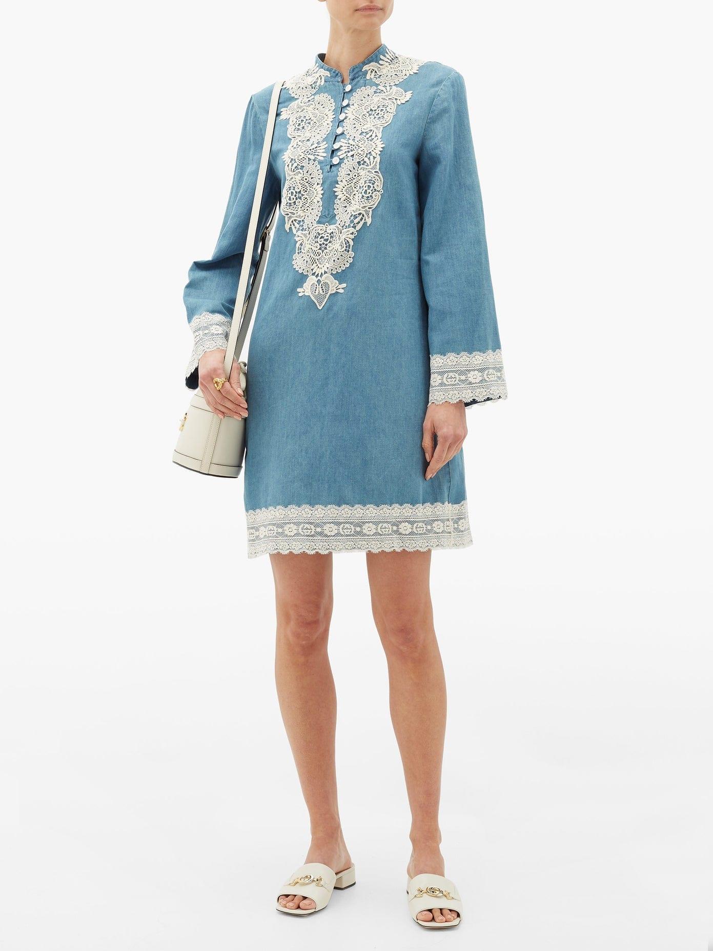 GUCCI Lace-trimmed Stonewashed Chambray Dress