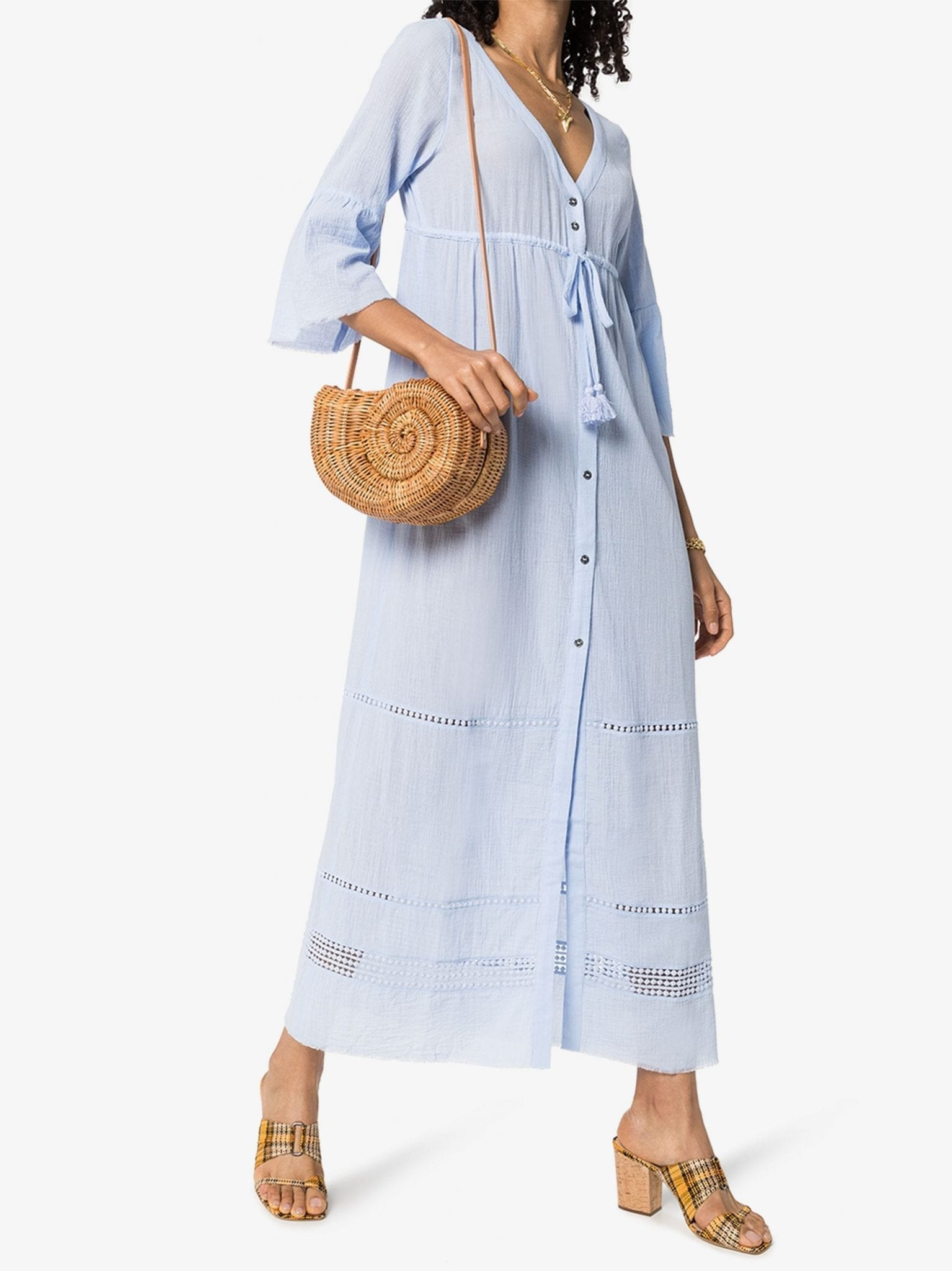 HEIDI KLEIN Azores Tie Front Cotton Kaftan Dress