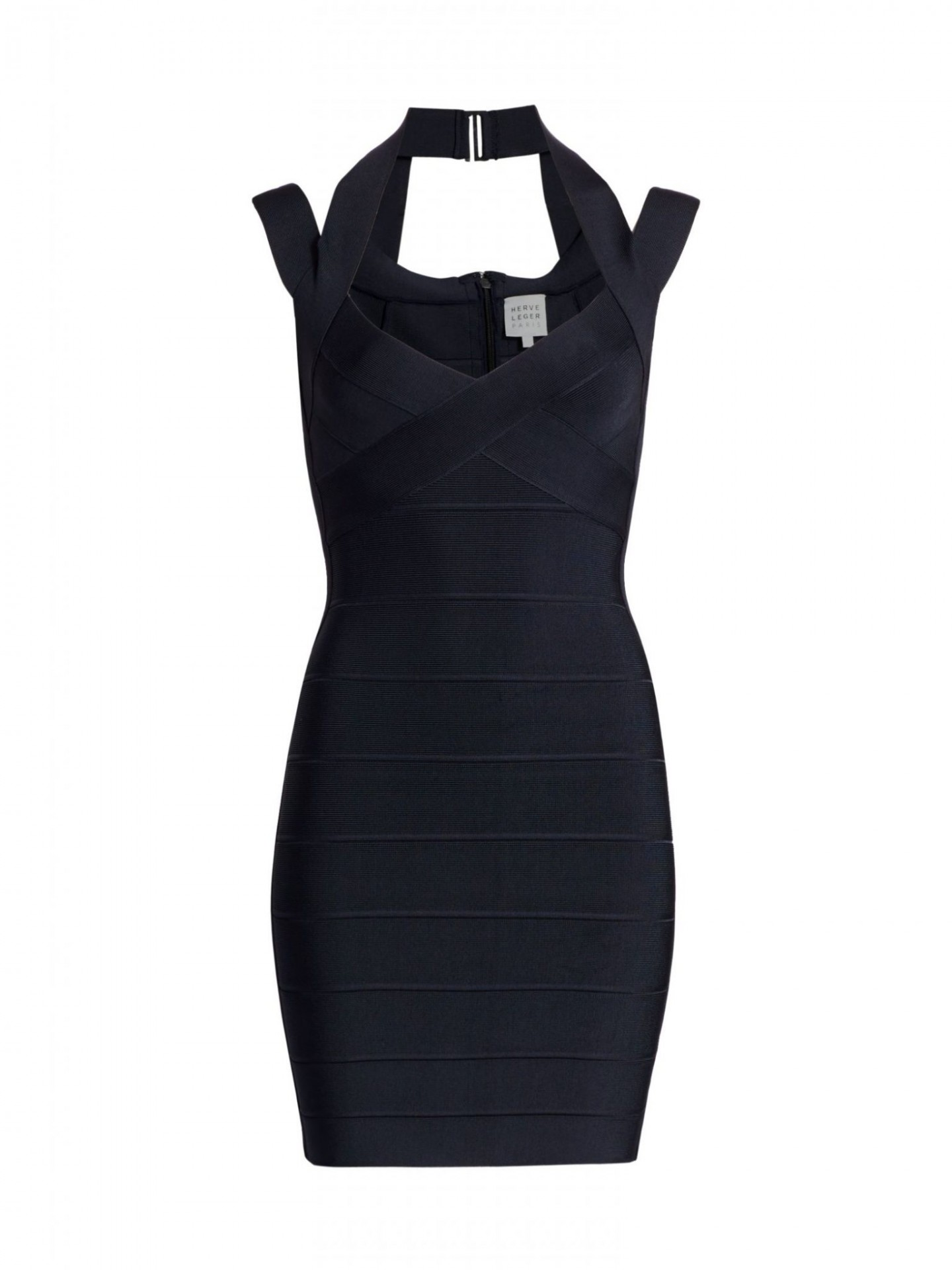 HERVE LEGER Icon Halter Mini Dress