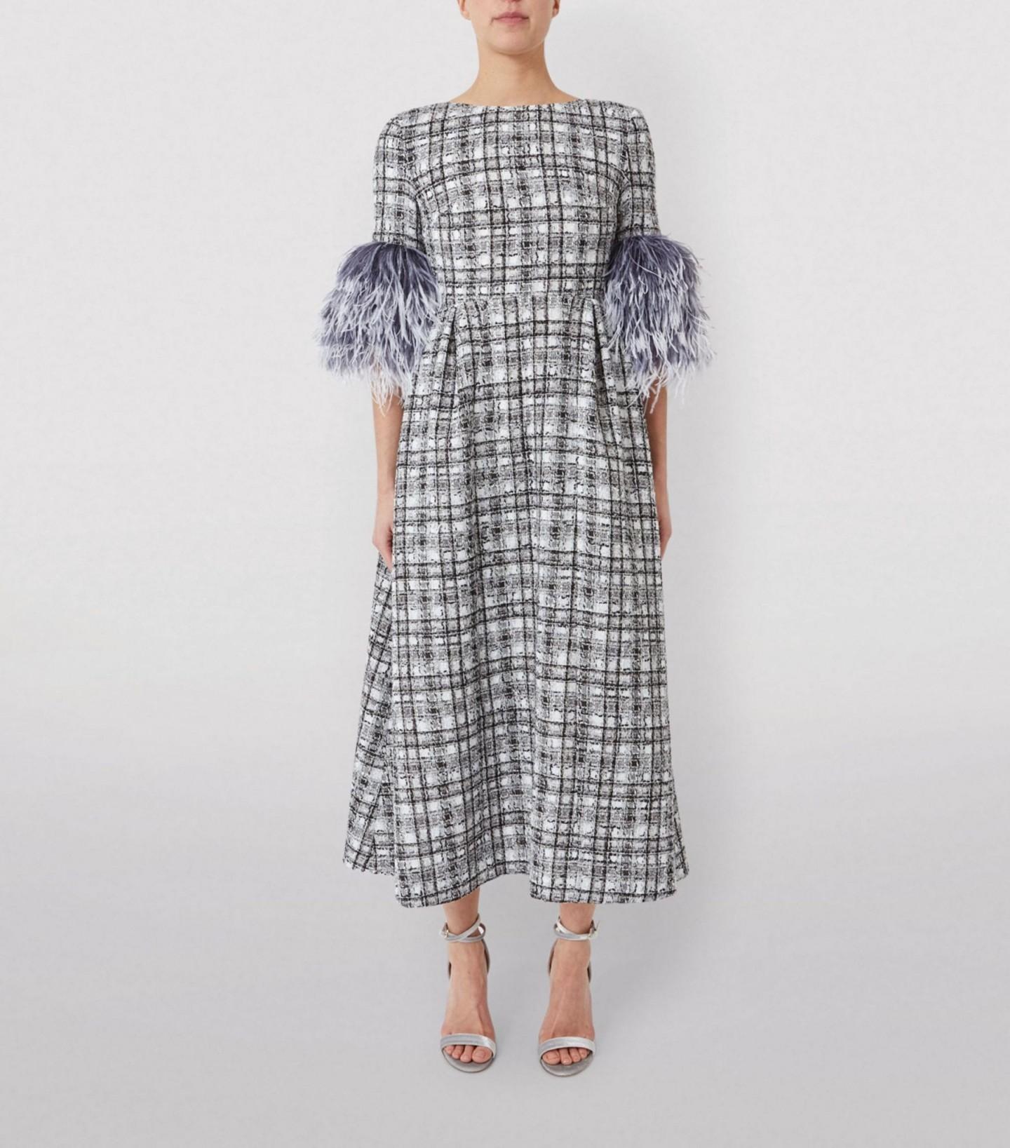 HUISHAN ZHANG Mariah Feather-Trim Plaid Dress