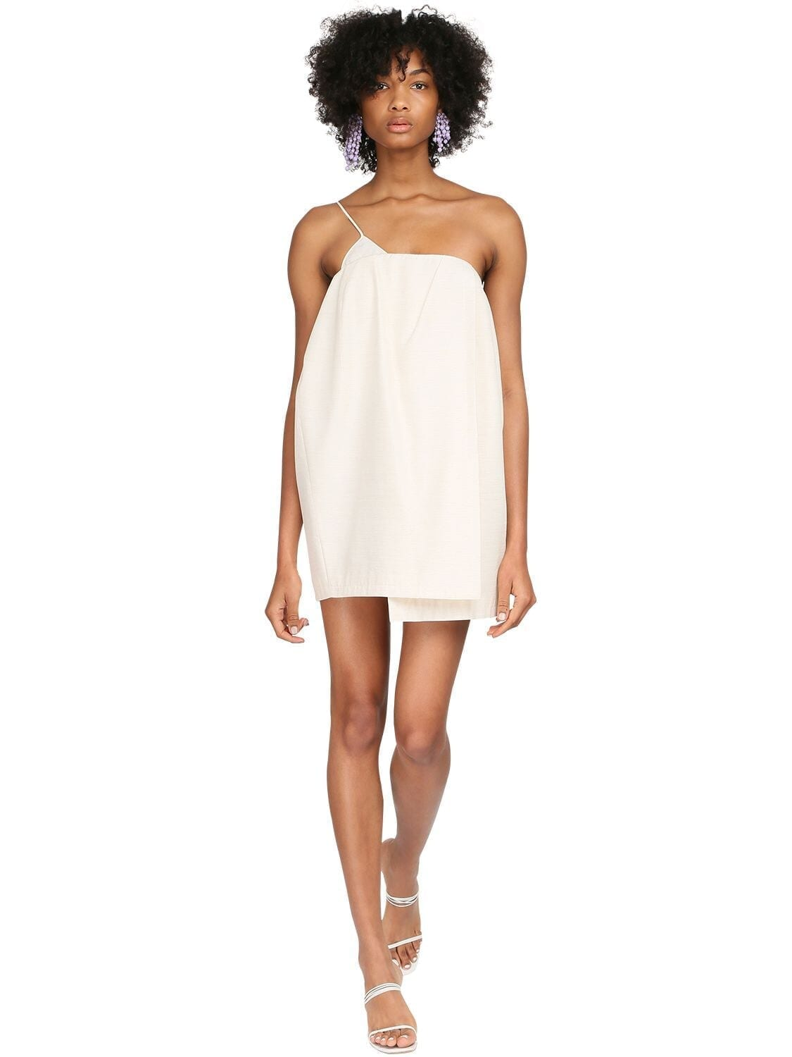 JACQUEMUS One Shoulder Viscose & Silk Mini Dress