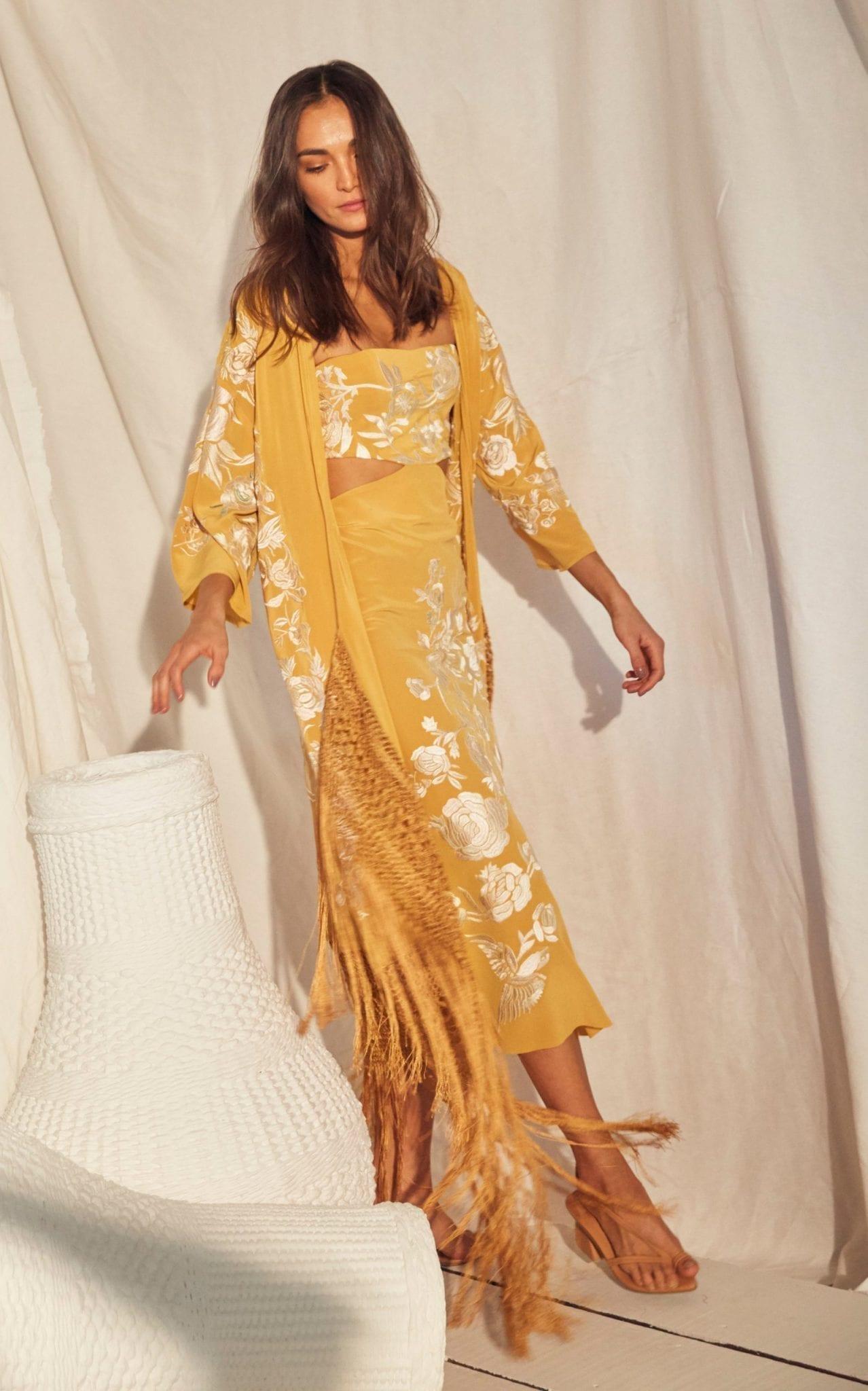JOHANNA ORTIZ Moon Whispers Embroidered Silk Dress