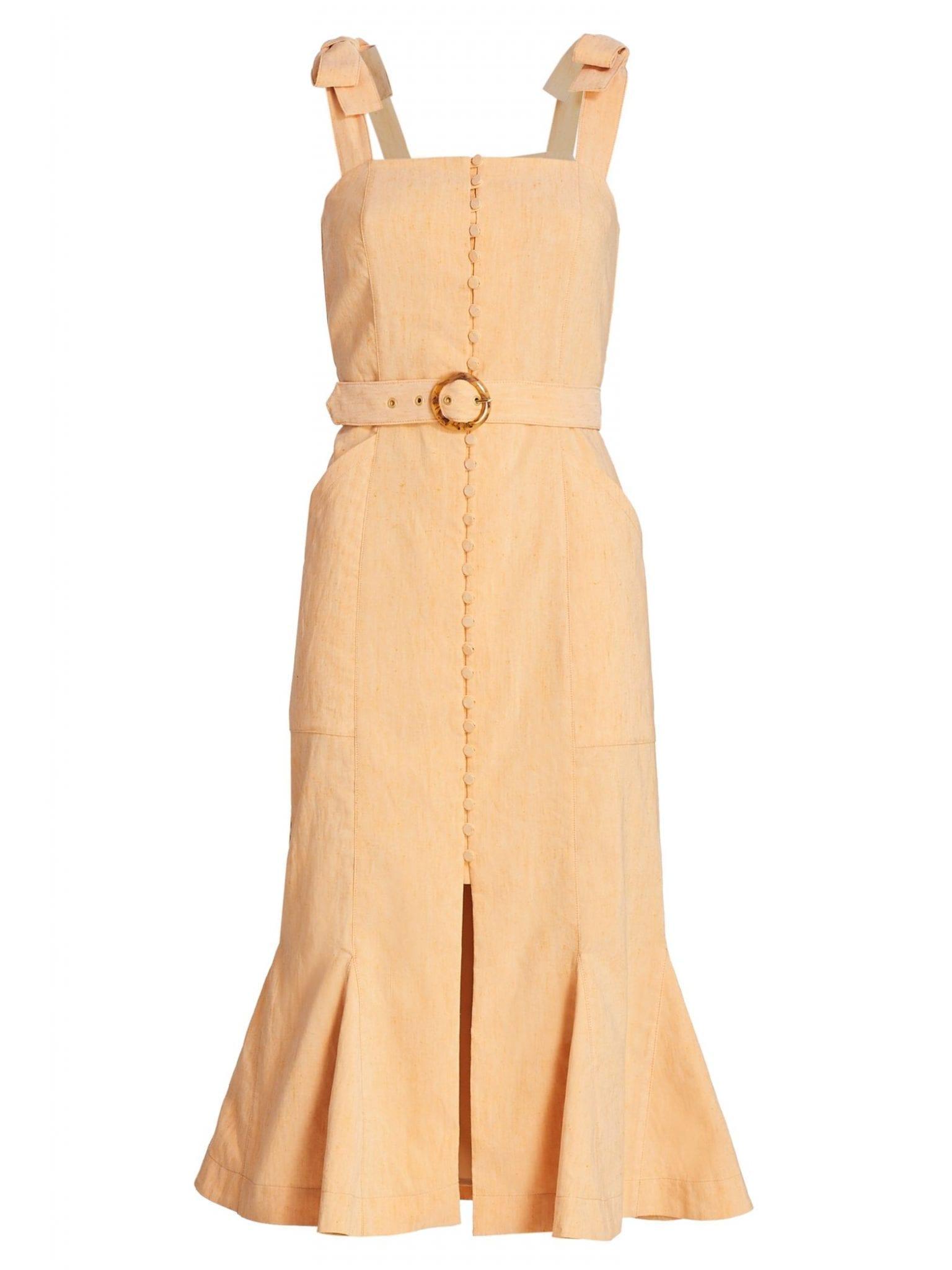 JONATHAN SIMKHAI Dawn Tie-Strap Belted Apron Flare Dress