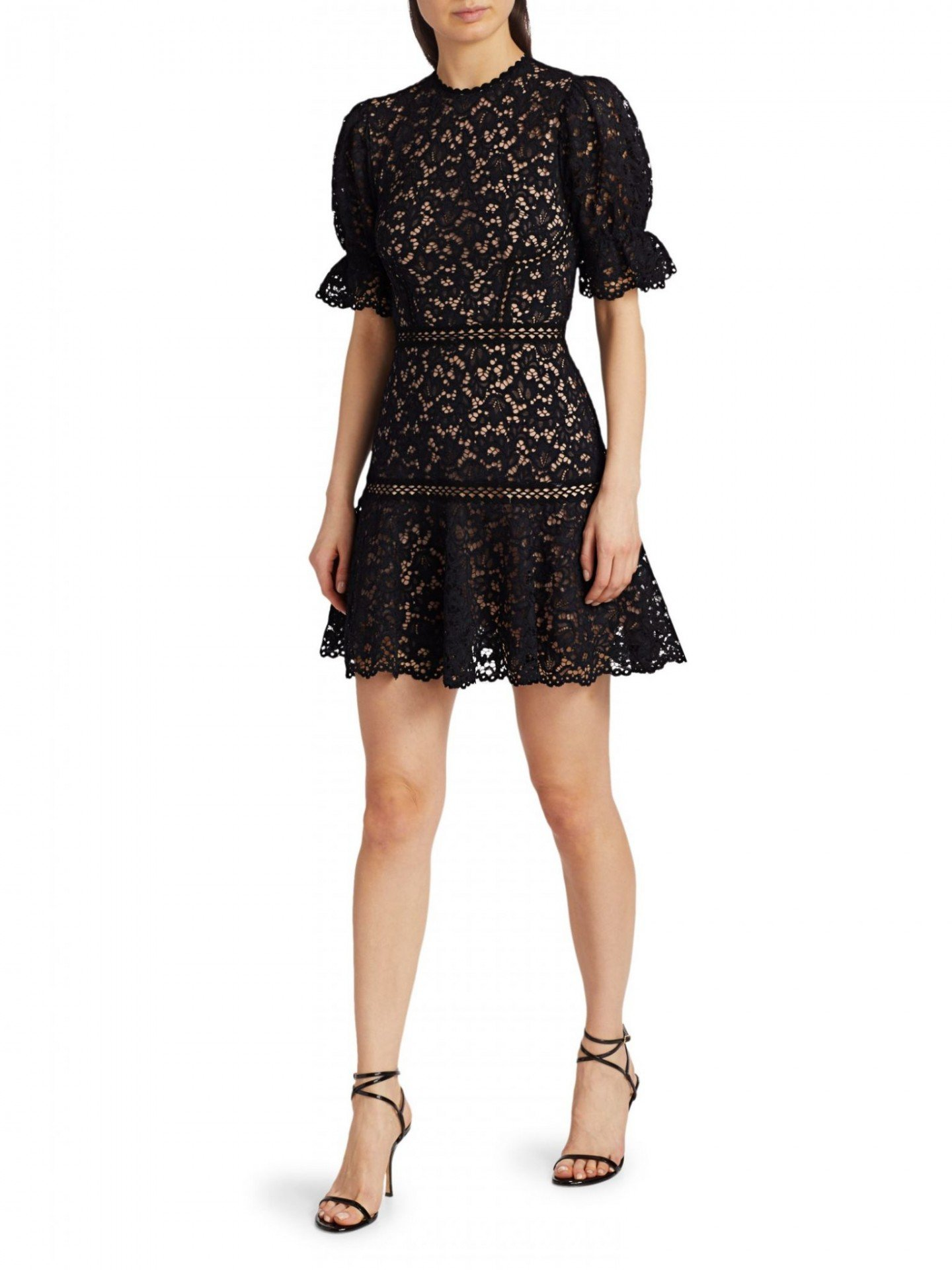 JONATHAN SIMKHAI Lace Puff-Sleeve Flounce Mini Dress