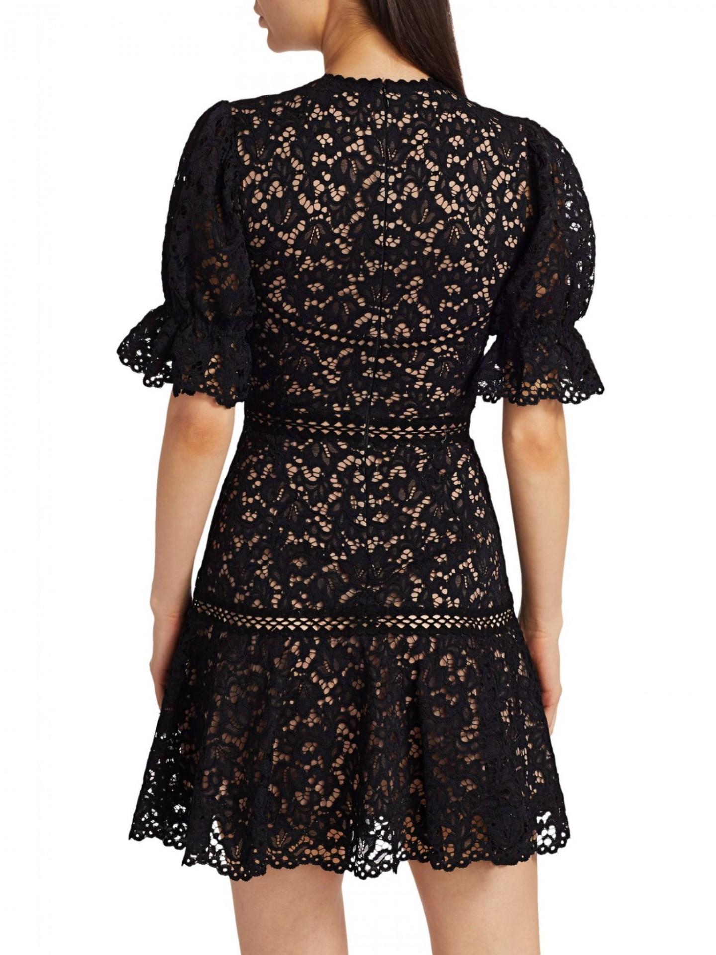 JONATHAN SIMKHAI Lace Puff-Sleeve Flounce Mini Dress