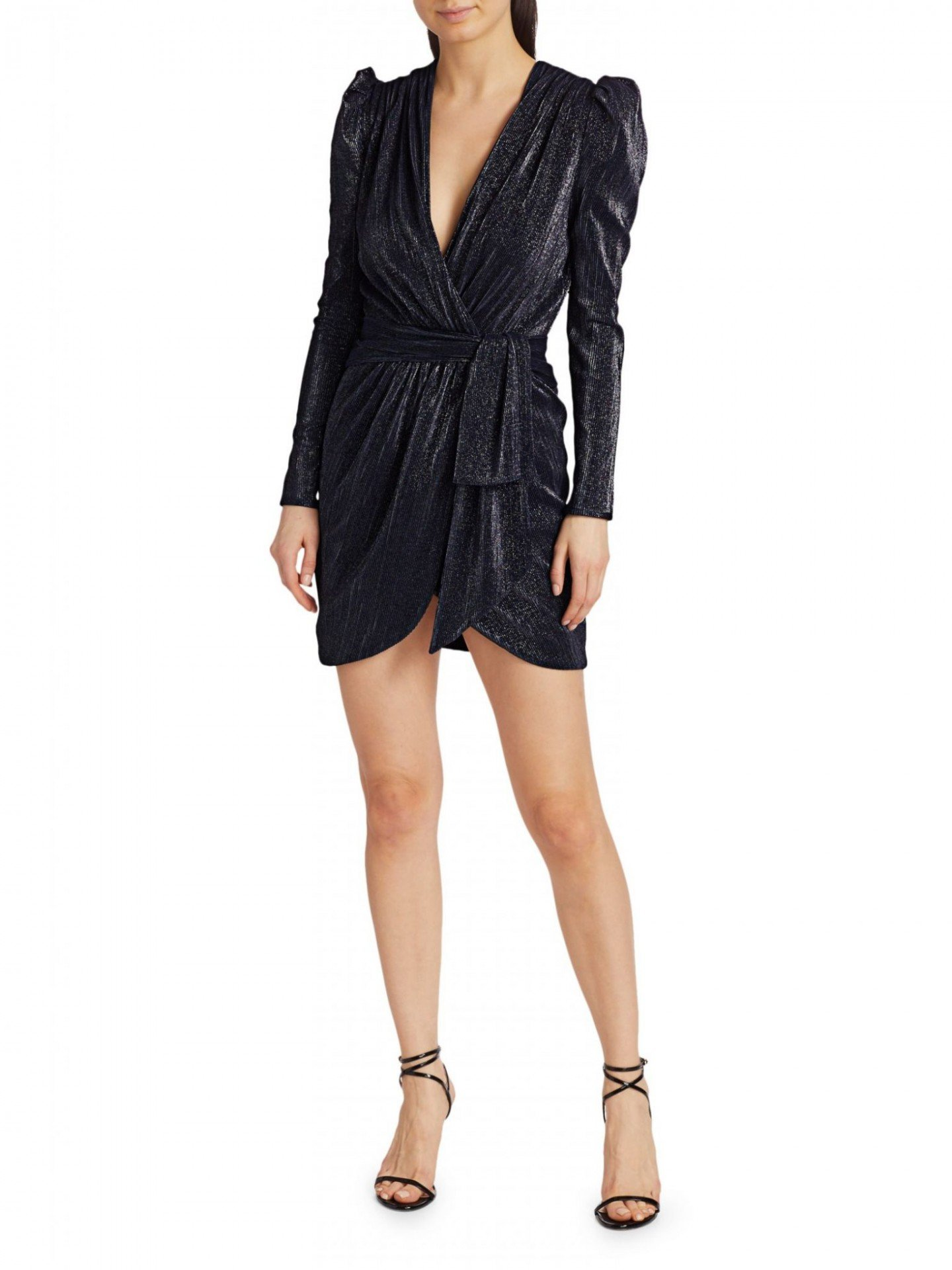JONATHAN SIMKHAI Metallic Puff-Sleeve Wrap Dress