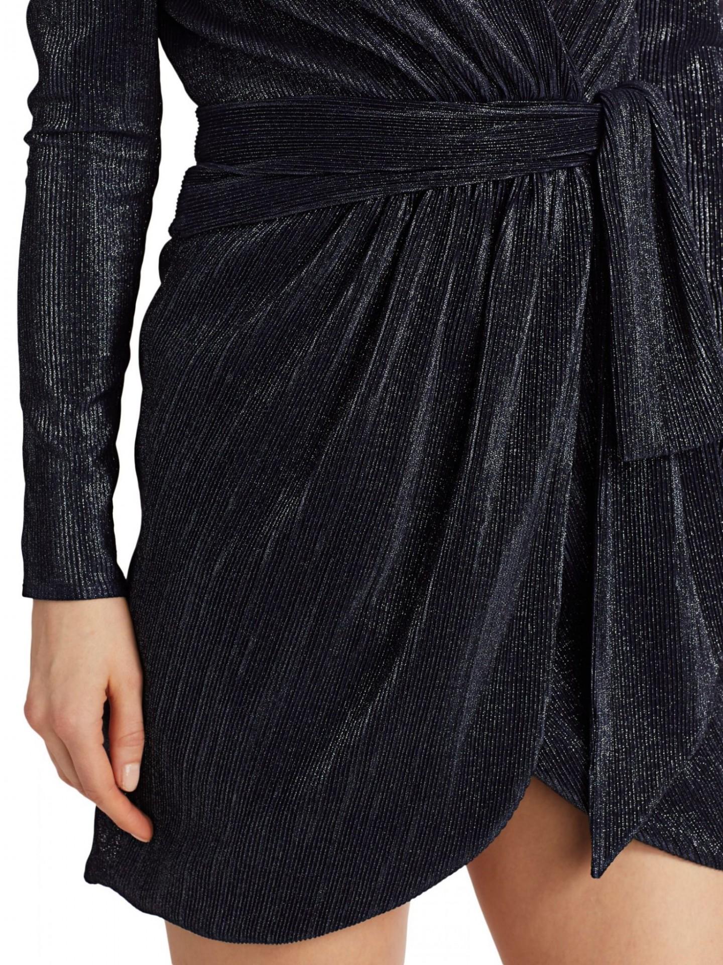 JONATHAN SIMKHAI Metallic Puff-Sleeve Wrap Dress