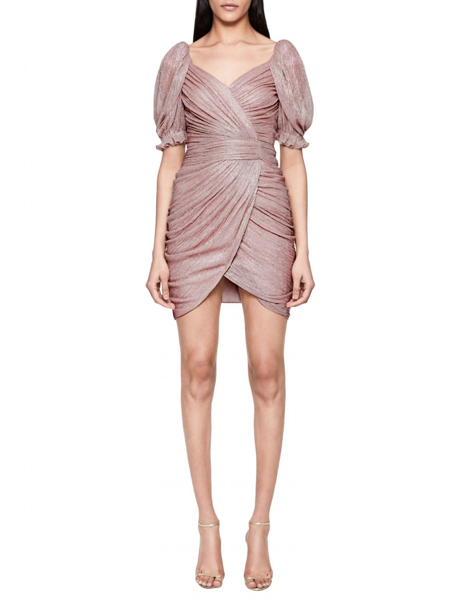 JONATHAN SIMKHAI Nina Plisse Wrap Mini Dress