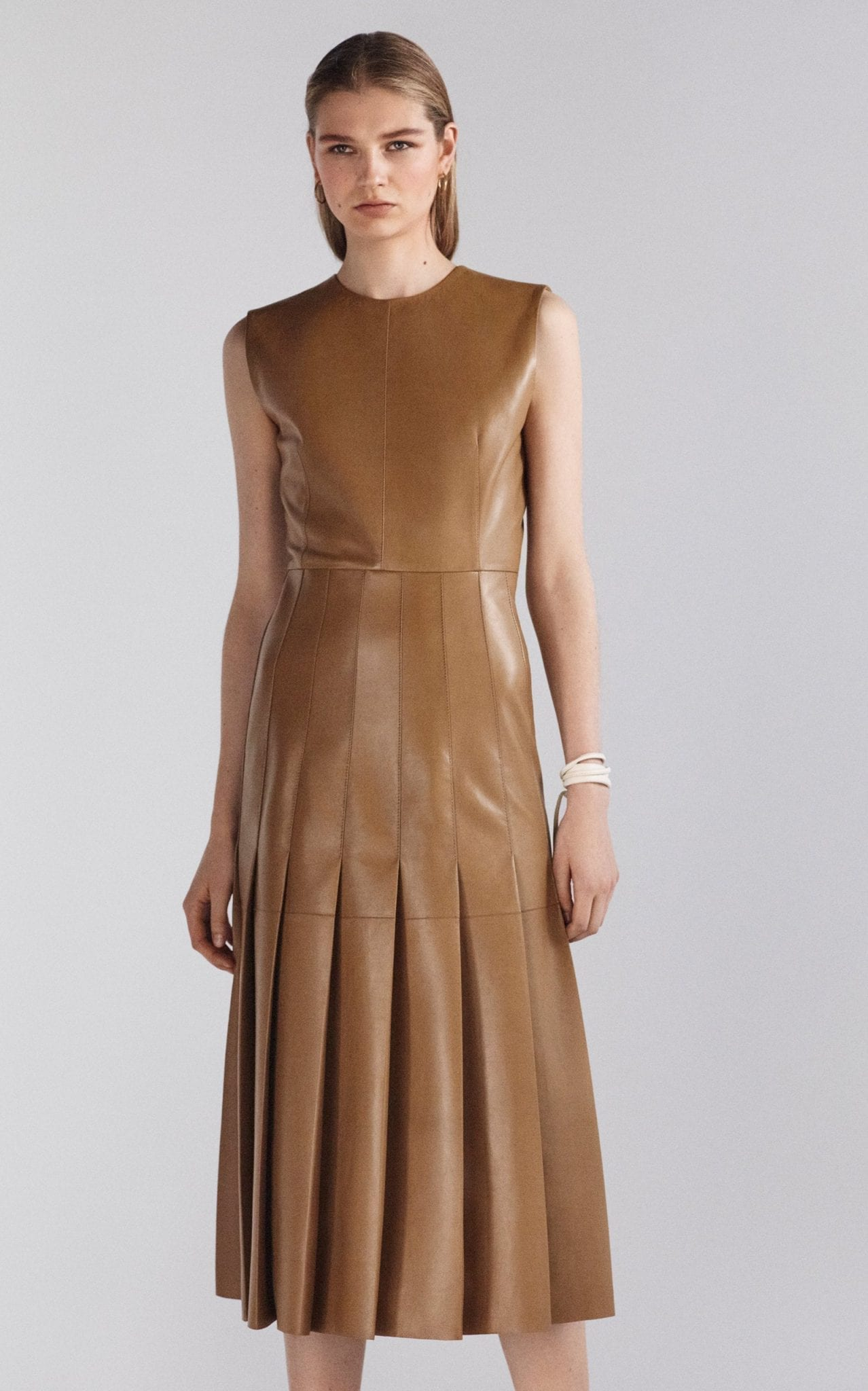 JOSEPH Demry Pleated Lambskin Dress