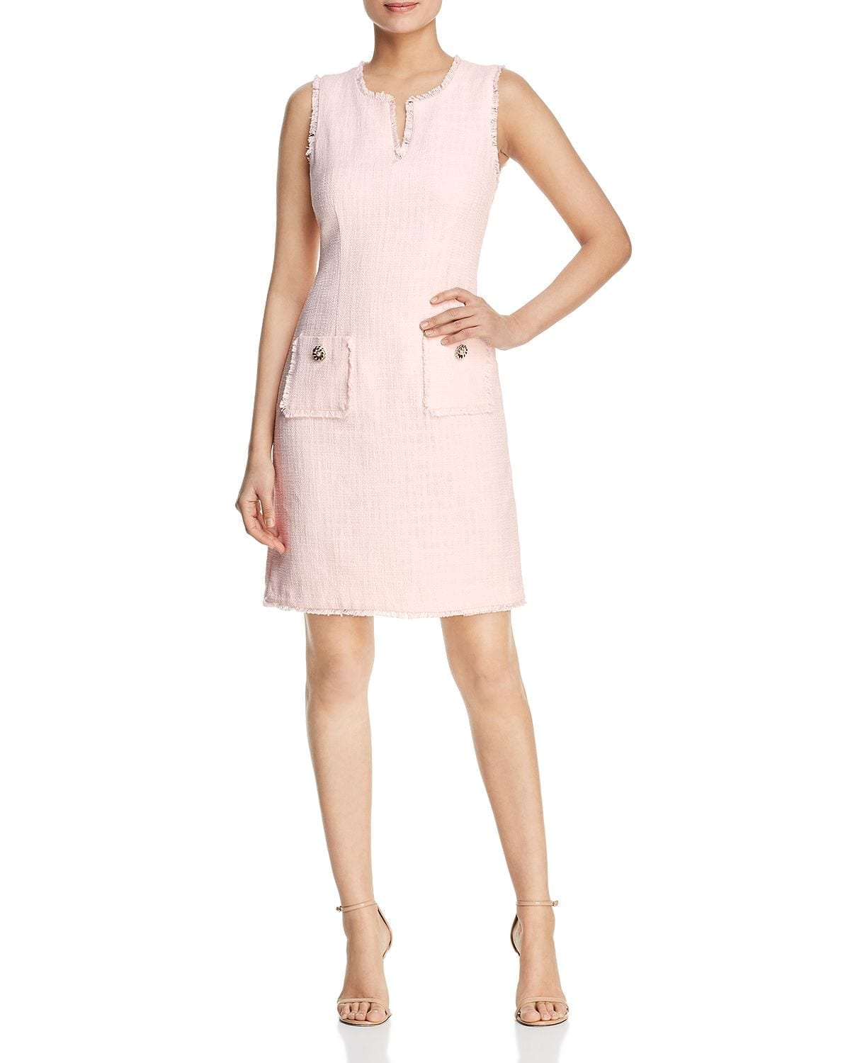 KARL LAGERFELD PARIS Tonal Tweed Pocket Dress